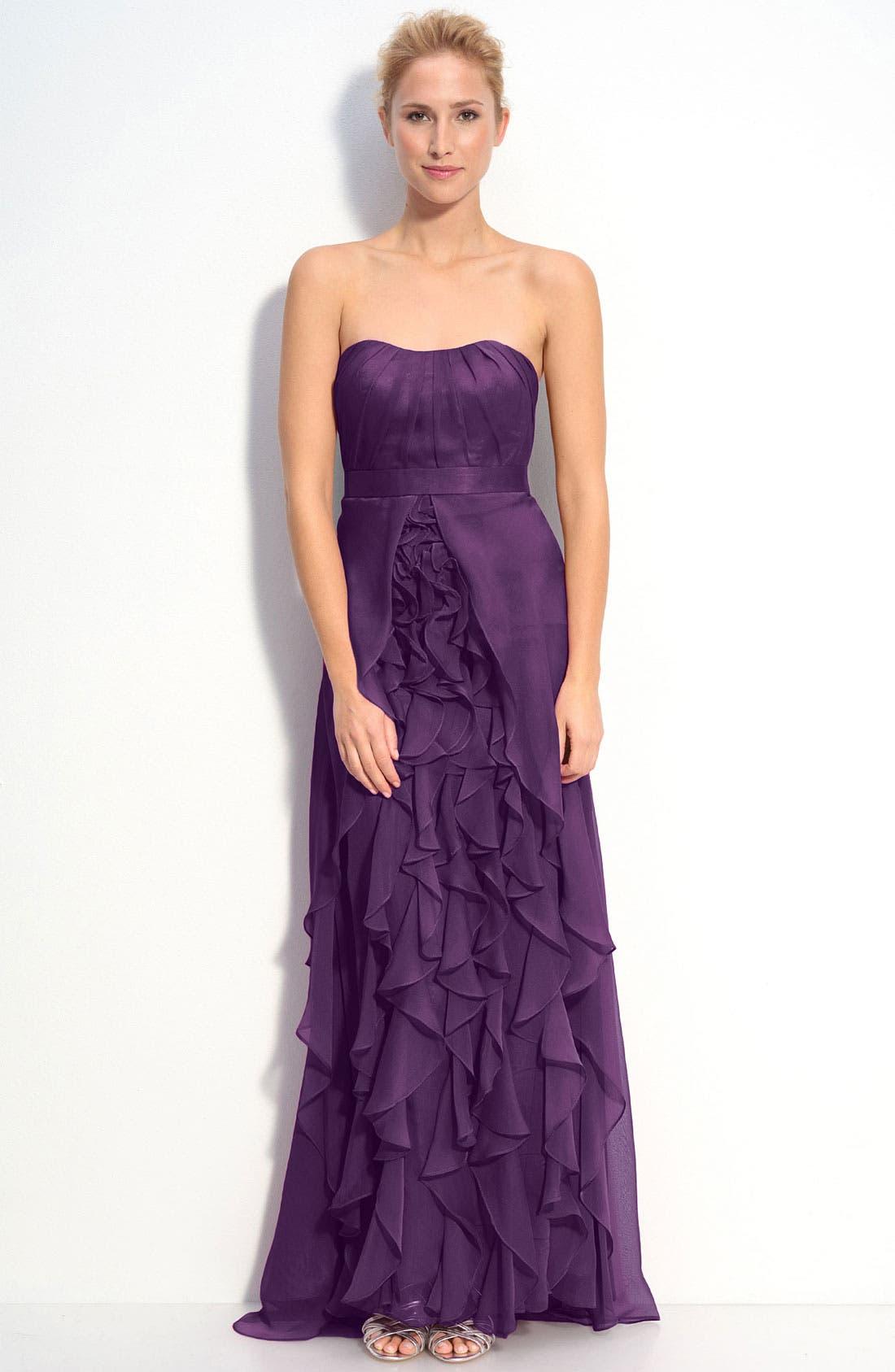 Alternate Image 1 Selected - Dalia MacPhee Strapless Ruffle Chiffon Gown