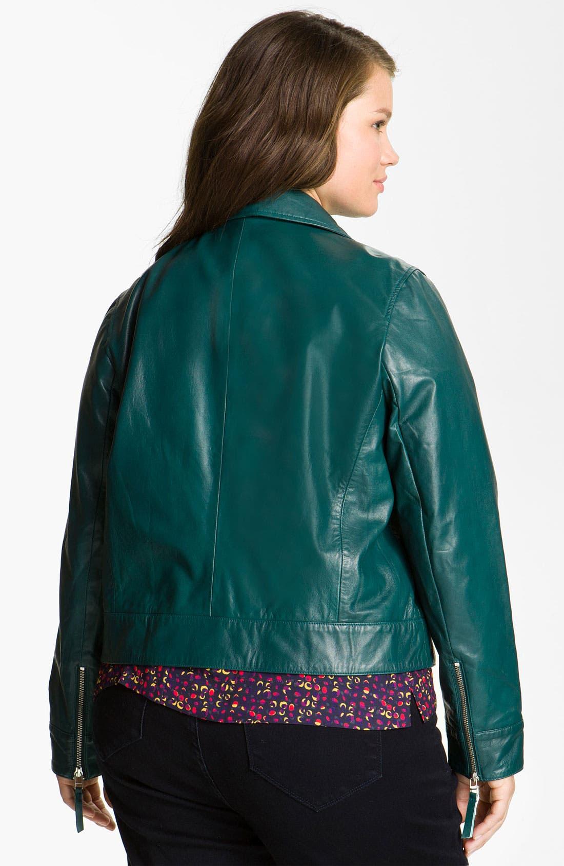 Alternate Image 2  - John Carlisle Leather Moto Jacket (Plus)