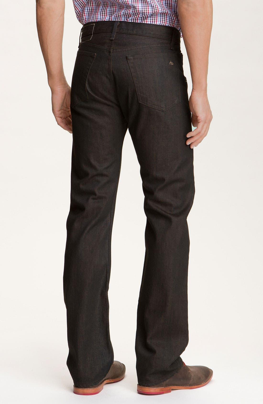 Main Image - rag & bone Straight Leg Jeans (Brown Resin Wash)