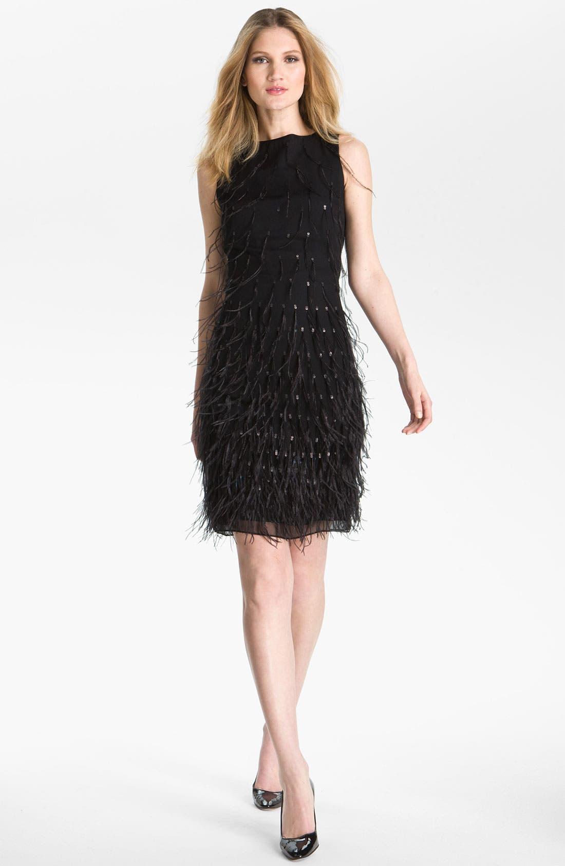 Main Image - St. John Collection Feather & Sequin Silk Chiffon Shift Dress