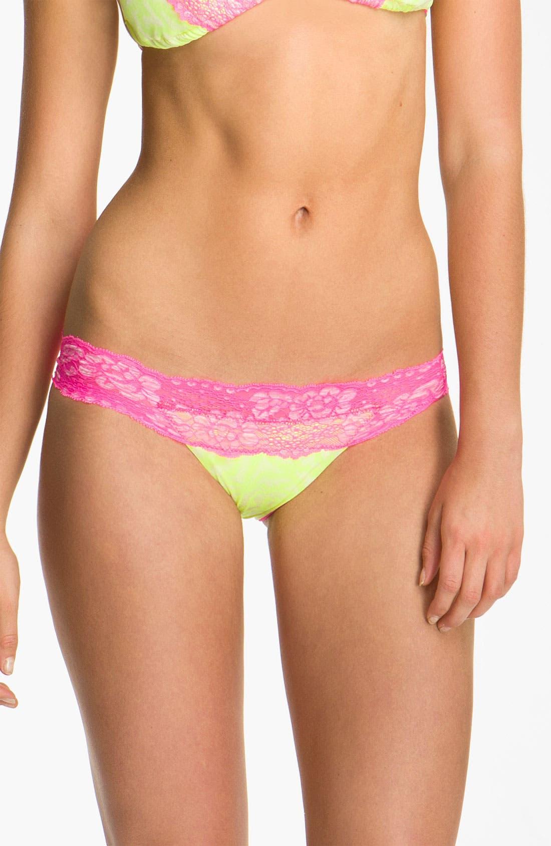Main Image - Beach Bunny 'Neon Dream' Lace Trim Bikini Bottoms