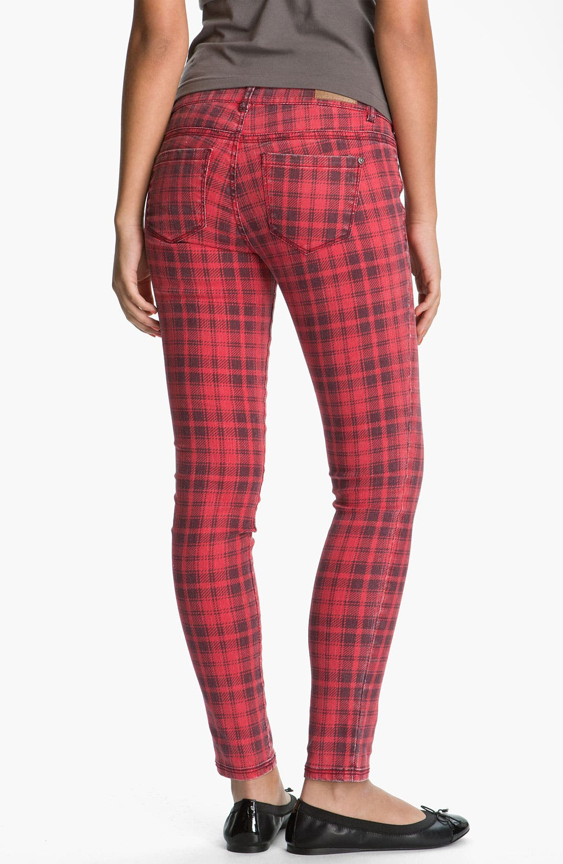 Alternate Image 1 Selected - Fire Plaid Skinny Jeans (Juniors)