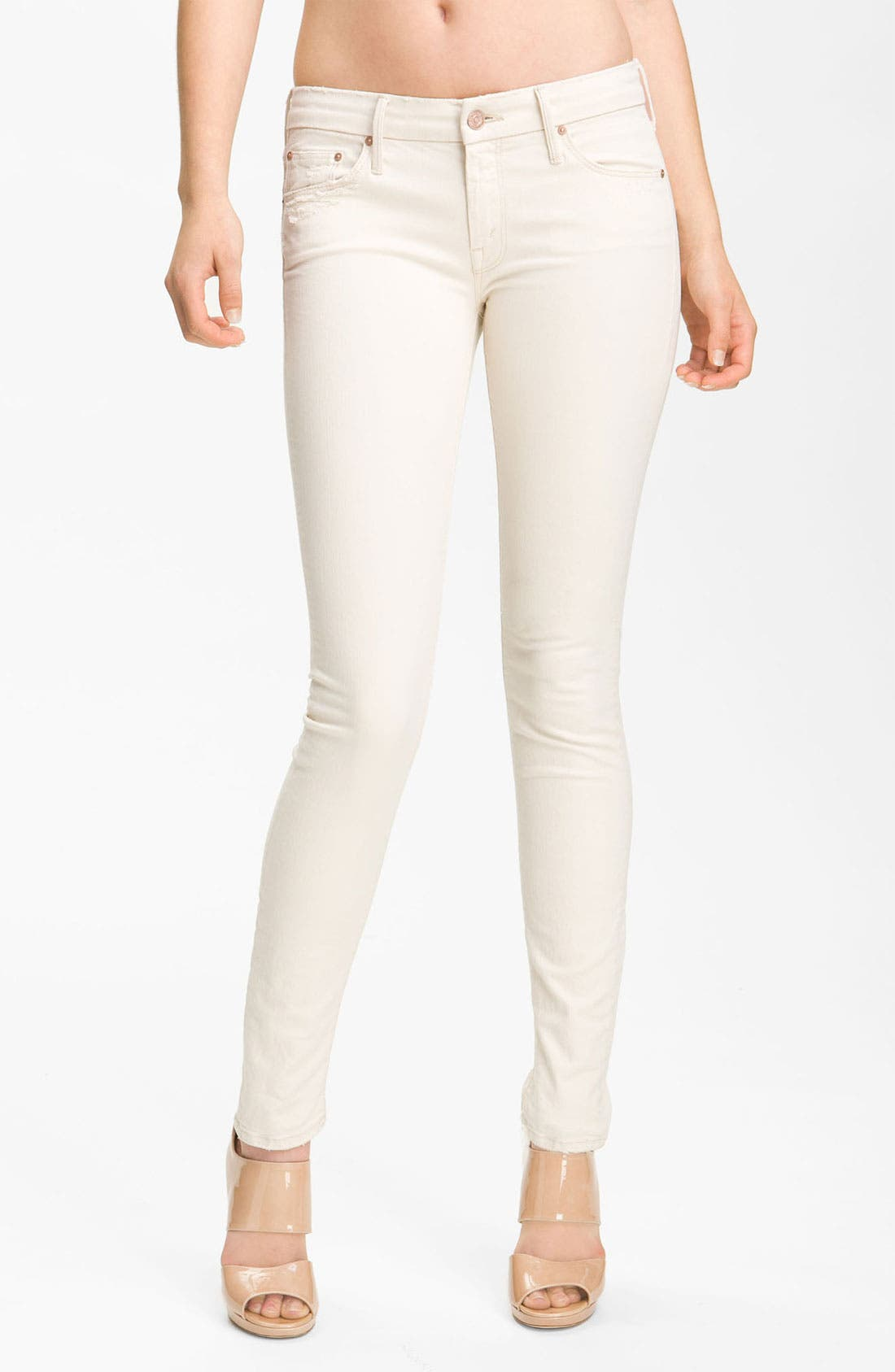 Alternate Image 1 Selected - MOTHER 'The Looker' Skinny Stretch Jeans (Cream for a Day)