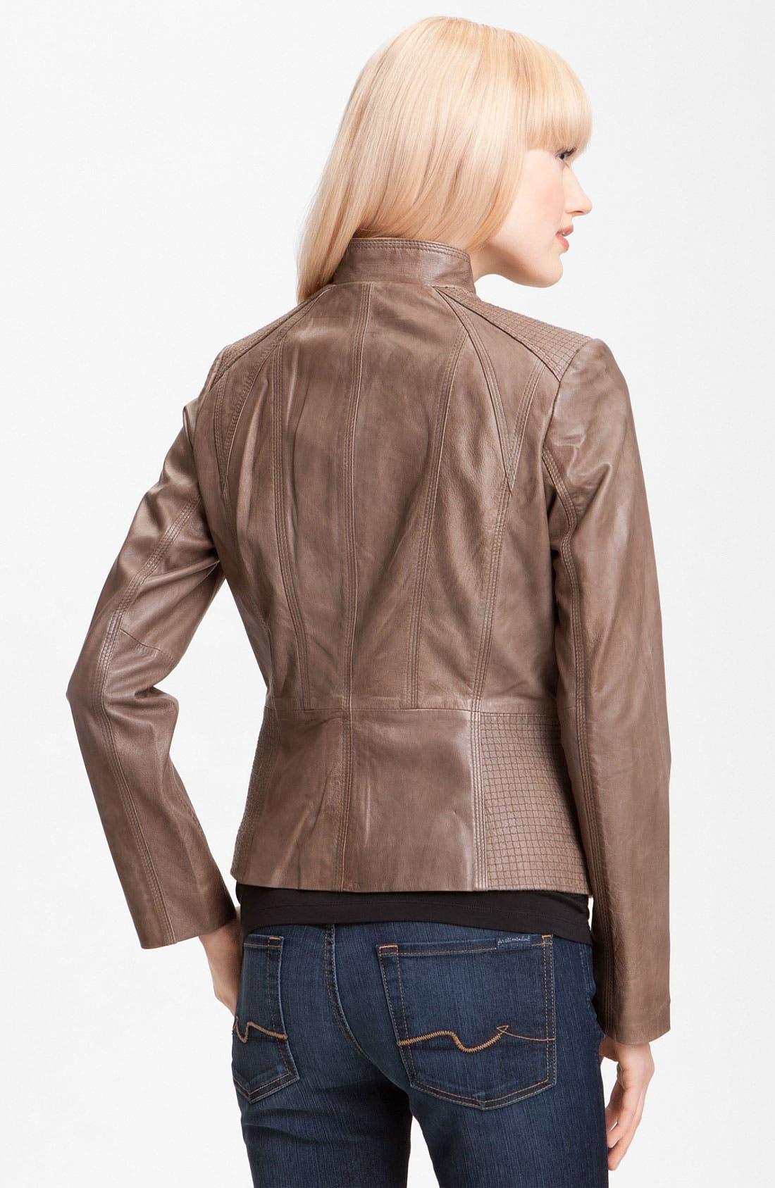 Alternate Image 2  - Bernardo Topstitch Leather Jacket
