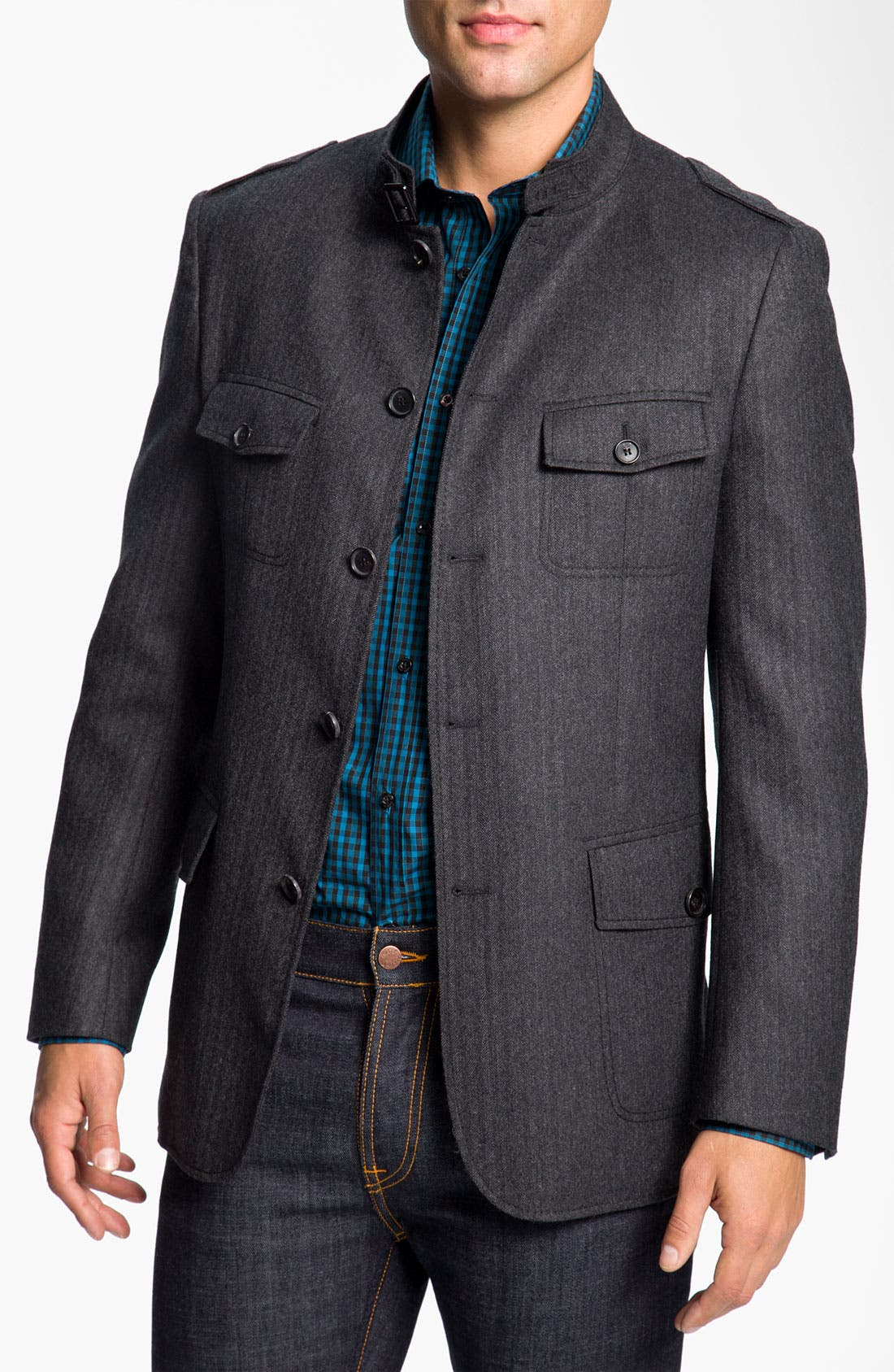 Alternate Image 1 Selected - BOSS Black 'Harper' Herringbone Field Jacket