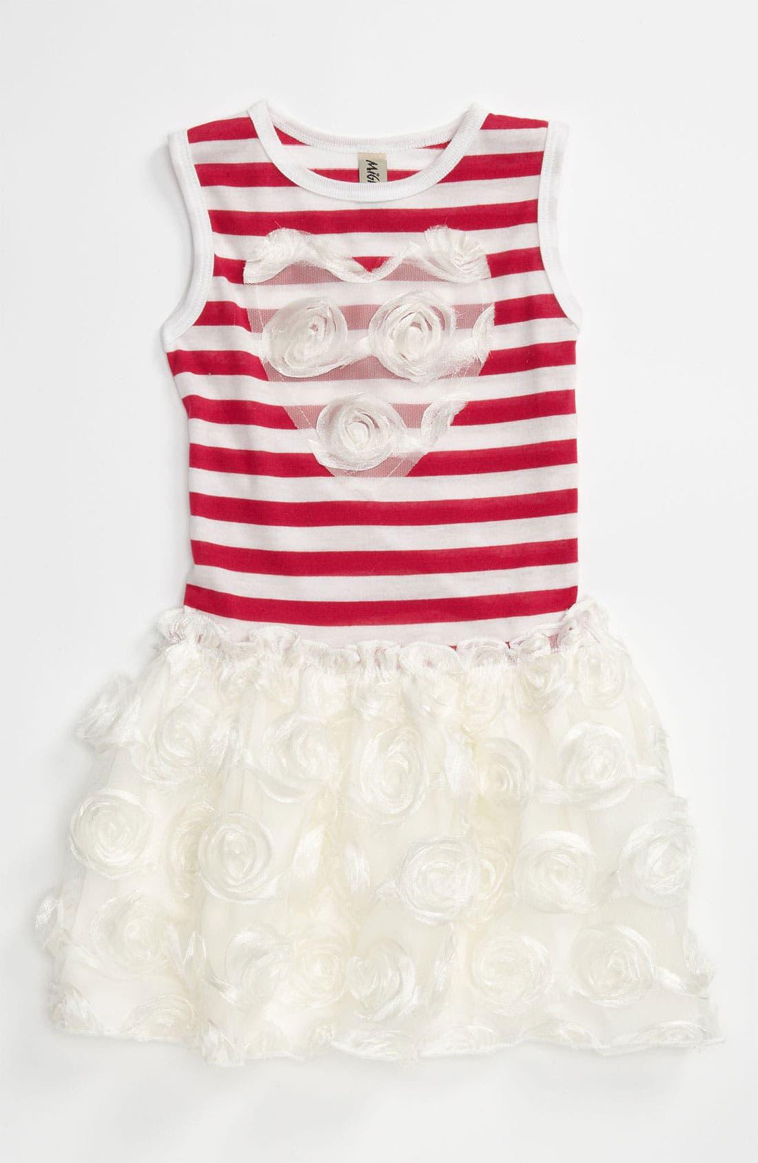 Alternate Image 1 Selected - Mignone Rosette Stripe Dress (Toddler)
