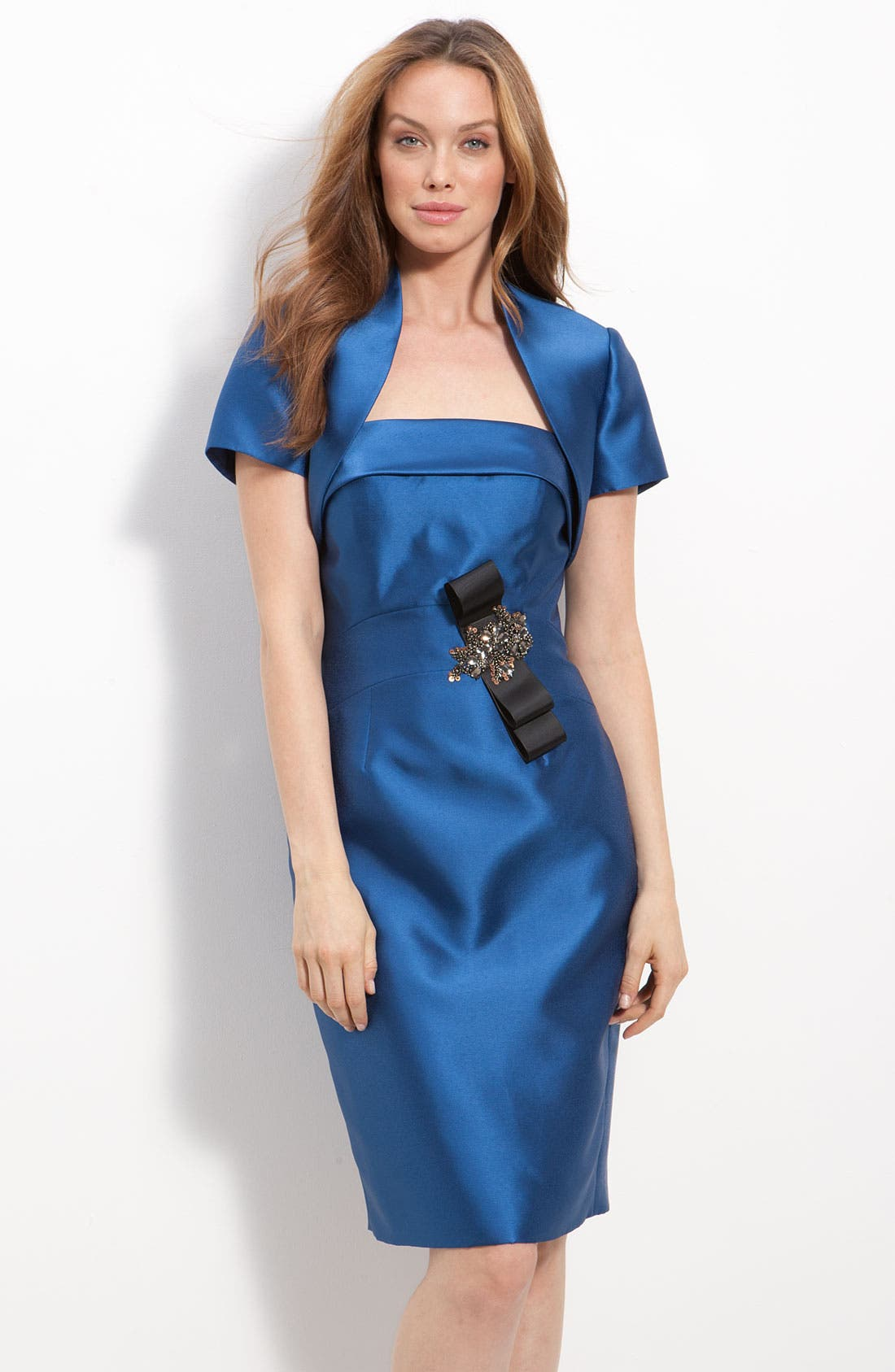 Main Image - JS Collections Beaded Twill Strapless Sheath Dress & Jacket (Petite)