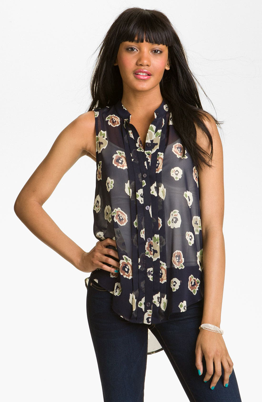 Alternate Image 1 Selected - Lush Pintuck Sleeveless Blouse (Juniors)