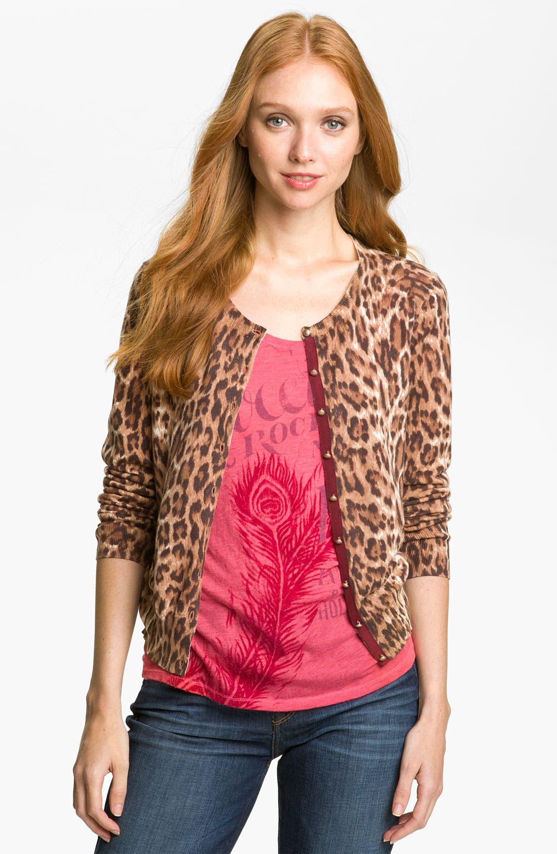 Alternate Image 1 Selected - Lucky Brand Cheetah Print Cardigan