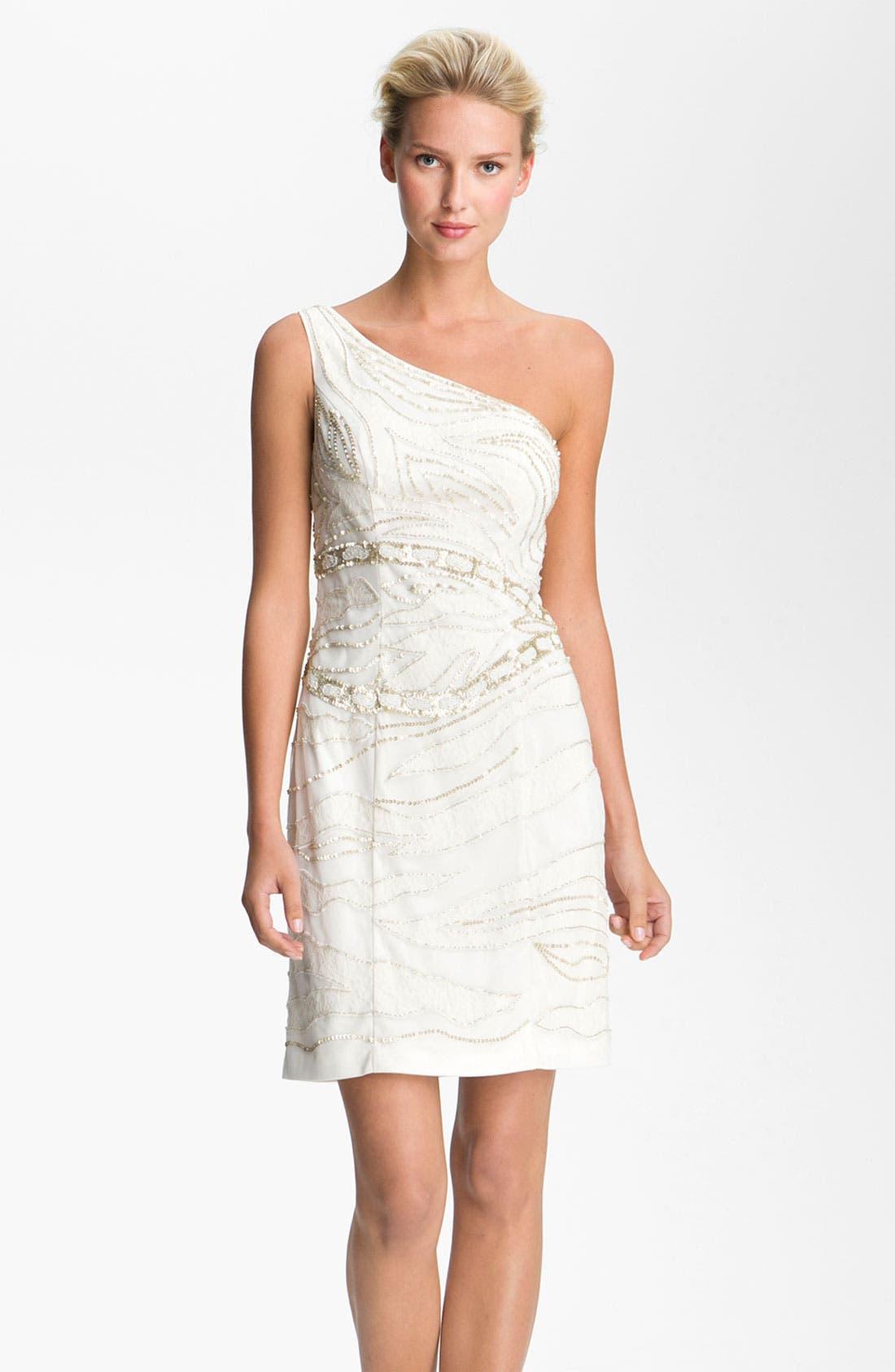 Alternate Image 1 Selected - Sue Wong Embellished One Shoulder Mesh Overlay Dress