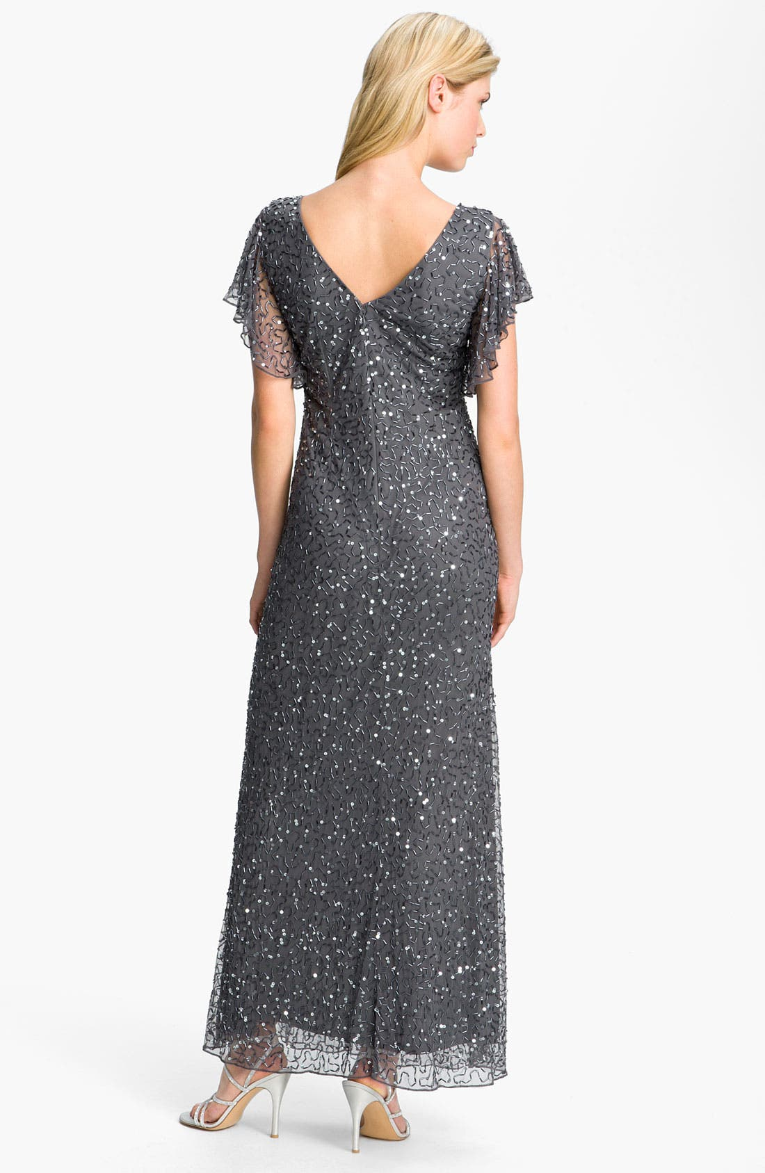 Alternate Image 2  - Patra Beaded Flutter Sleeve Mesh Gown