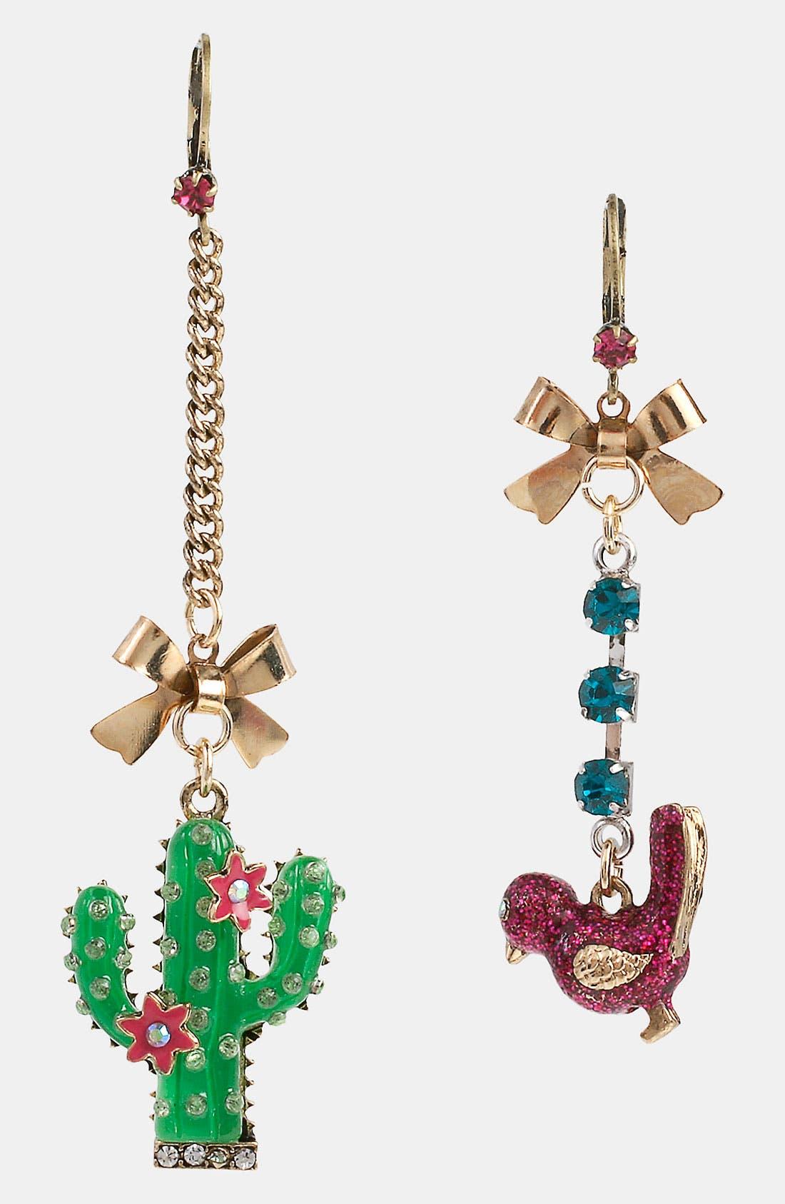 Main Image - Betsey Johnson 'Flights of Fancy' Cactus Mismatch Earrings