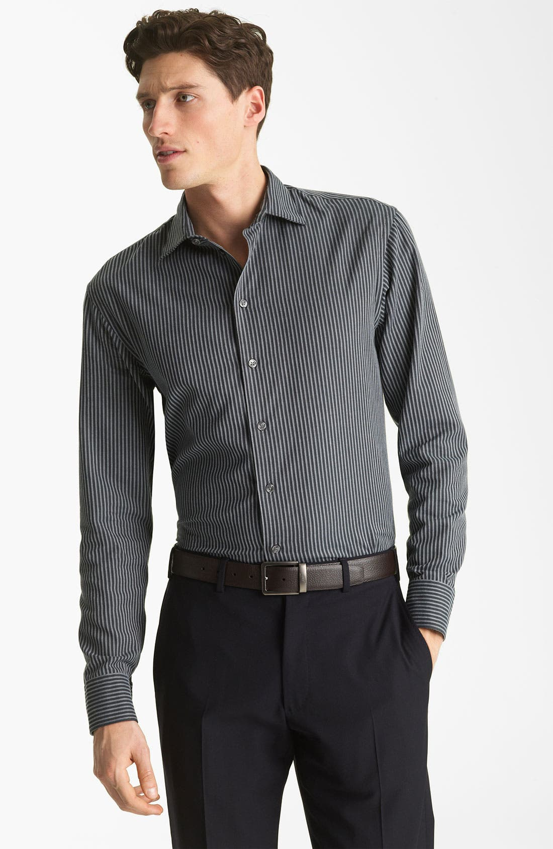 Alternate Image 1 Selected - Armani Collezioni Stripe Sport Shirt