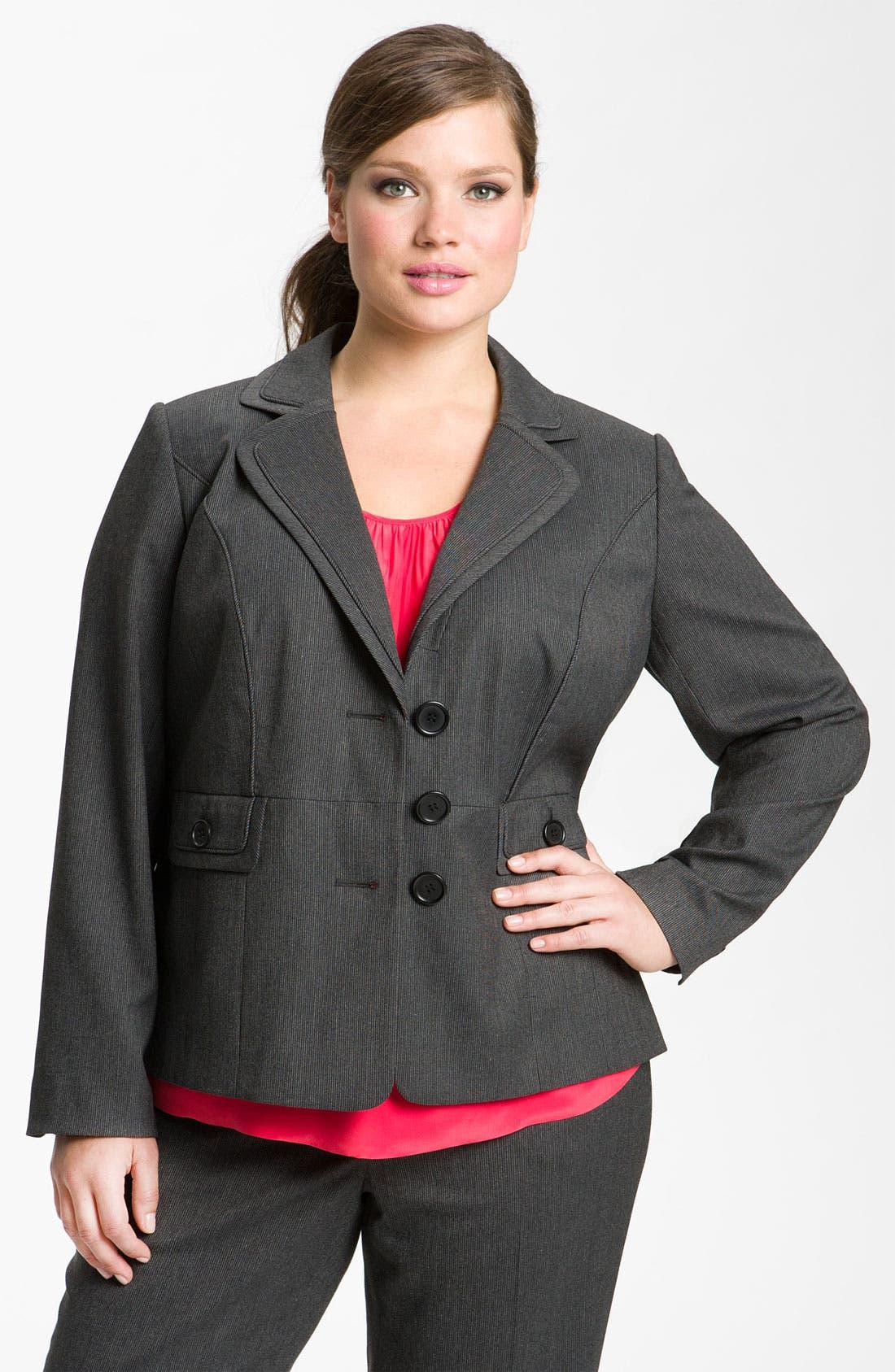 Main Image - Sejour Tonal Trim Suit Jacket (Plus)