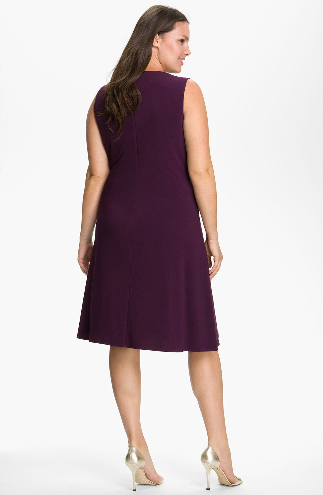 Alternate Image 2  - Calvin Klein Sequin Trim Sleeveless Matte Jersey Shift Dress (Plus)