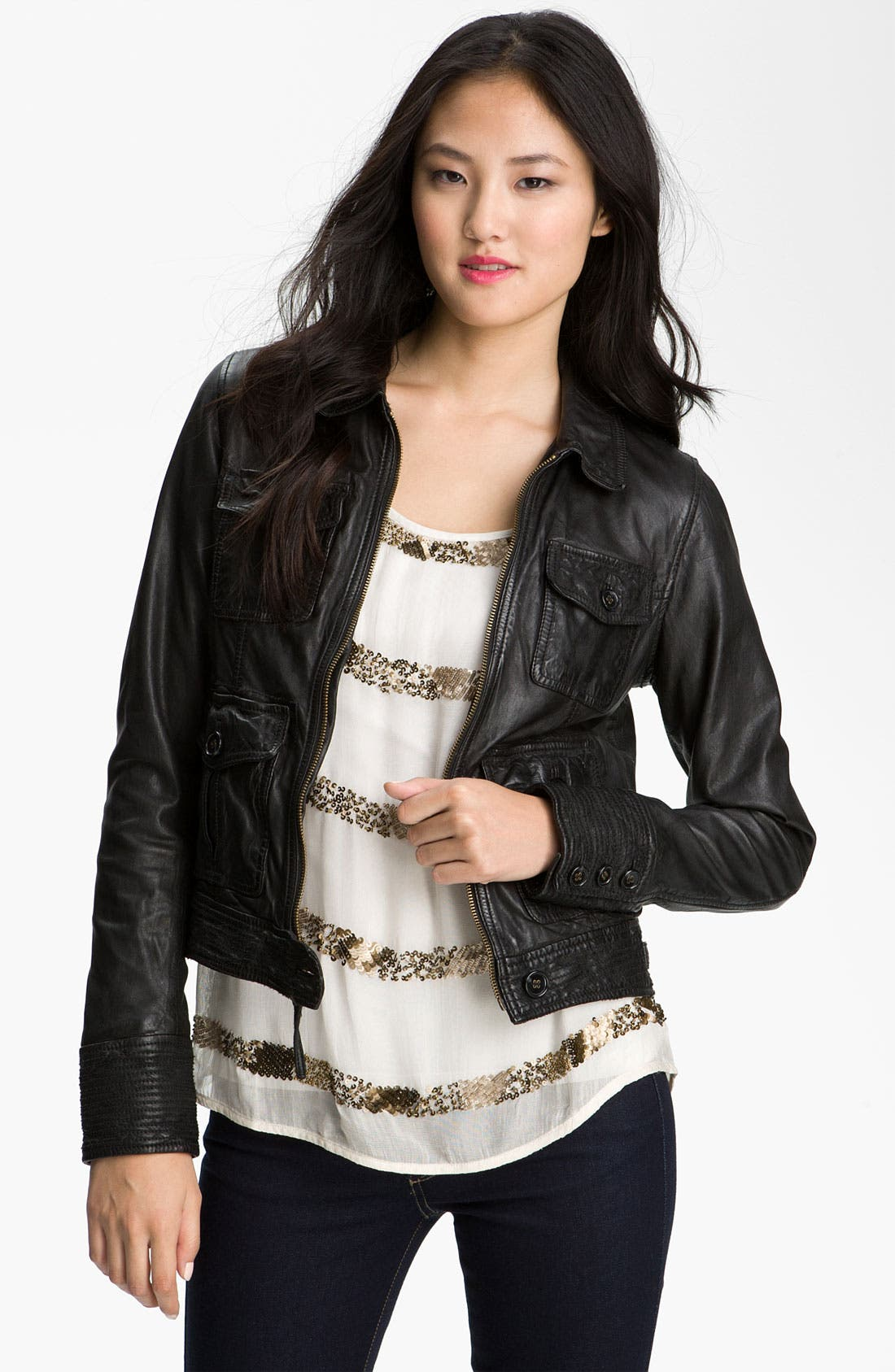 Alternate Image 1 Selected - Lucky Brand Distressed Leather Jacket