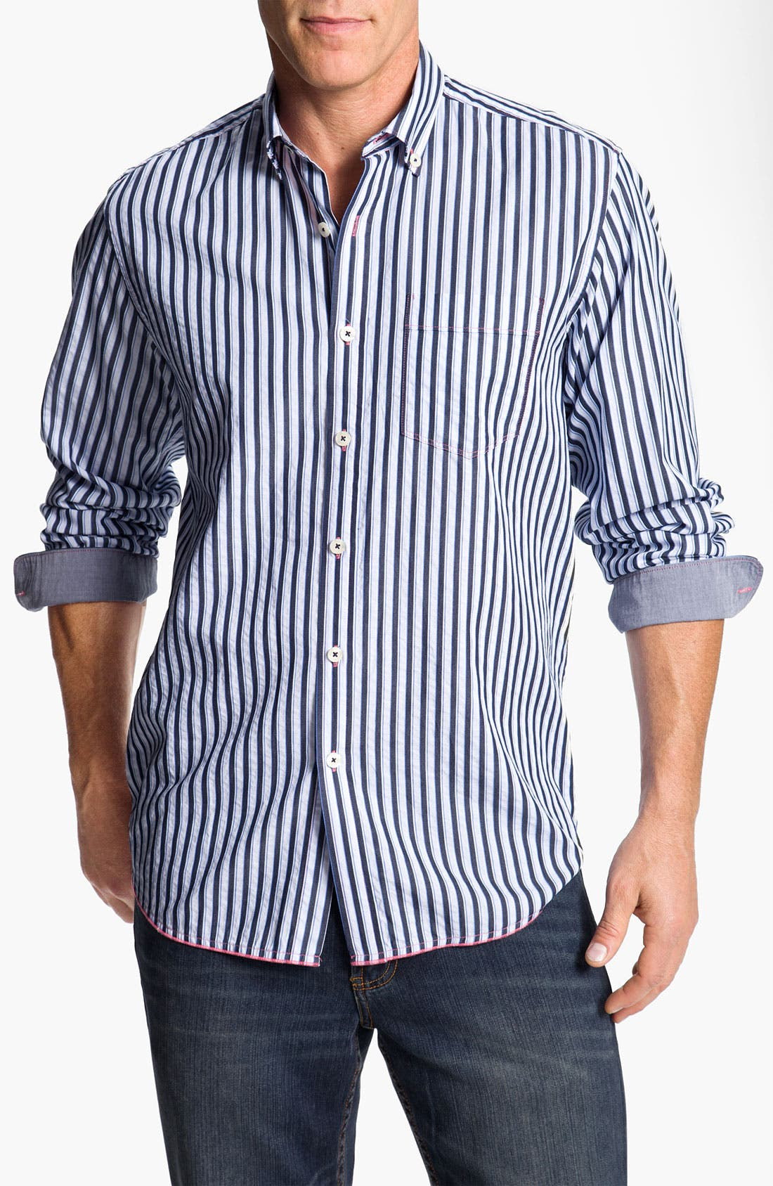 Alternate Image 1 Selected - Tommy Bahama Denim 'Dalat Stripe' Sport Shirt