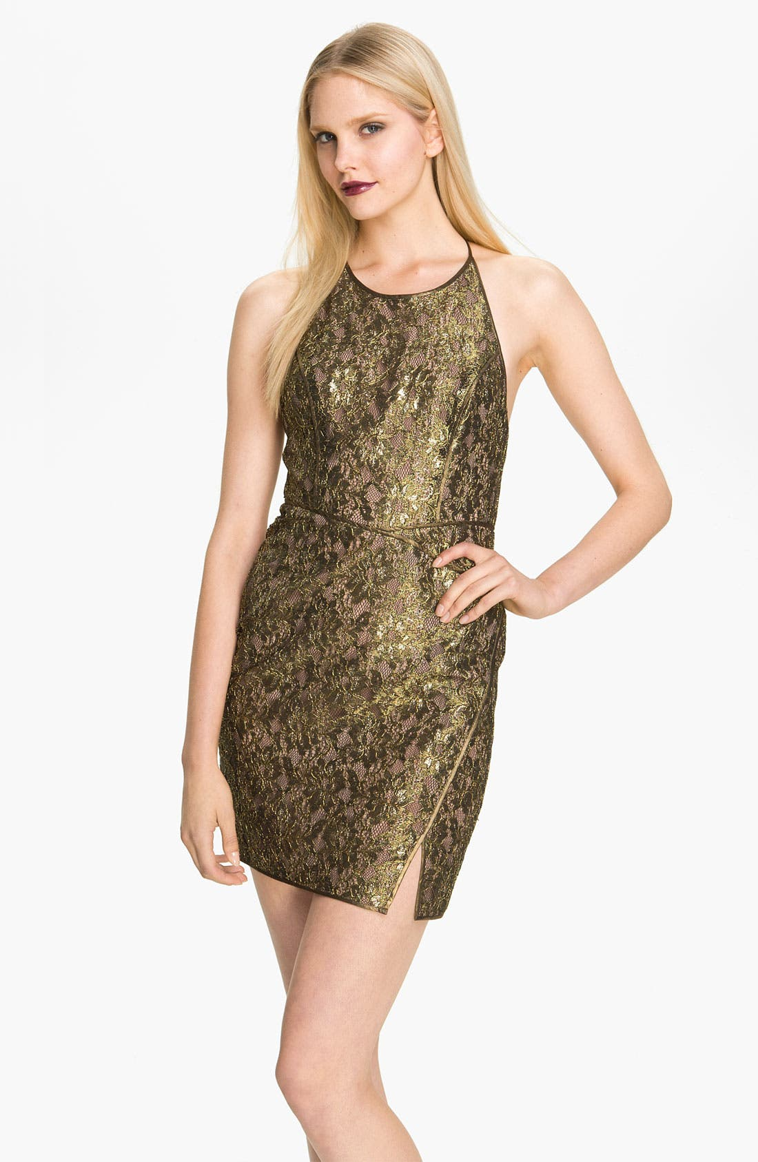 Alternate Image 1 Selected - BCBGMAXAZRIA Metallic Lace Mesh Panel Minidress