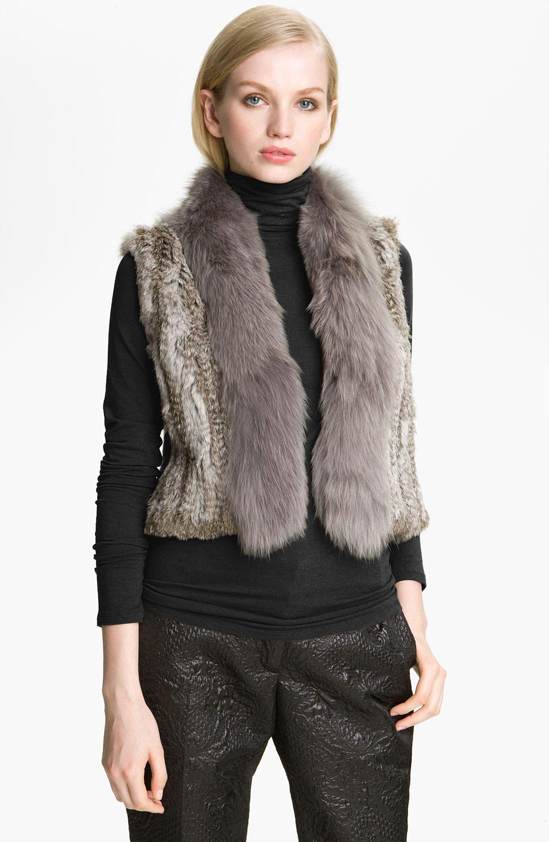 Main Image - Elizabeth and James 'Sean' Genuine Rabbit & Coyote Fur Vest