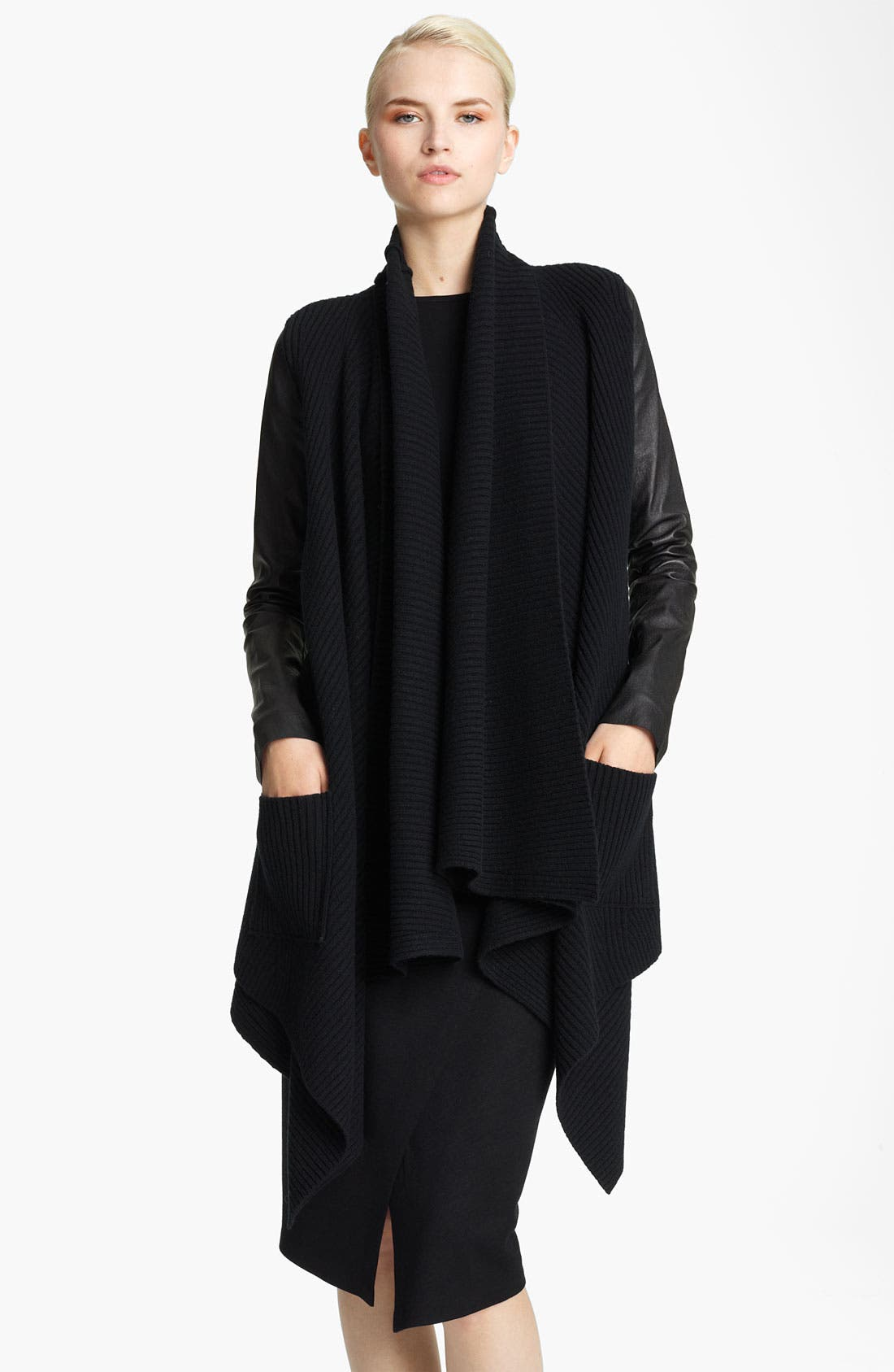 Main Image - Donna Karan Collection Leather Sleeve Knit Cozy