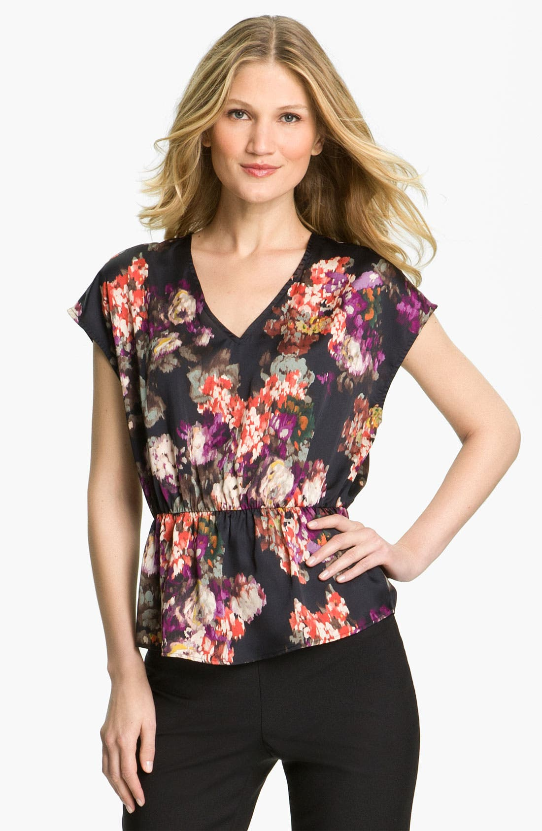 Alternate Image 1 Selected - Collective Concepts Sleeveless Peplum Blouse (Petite)