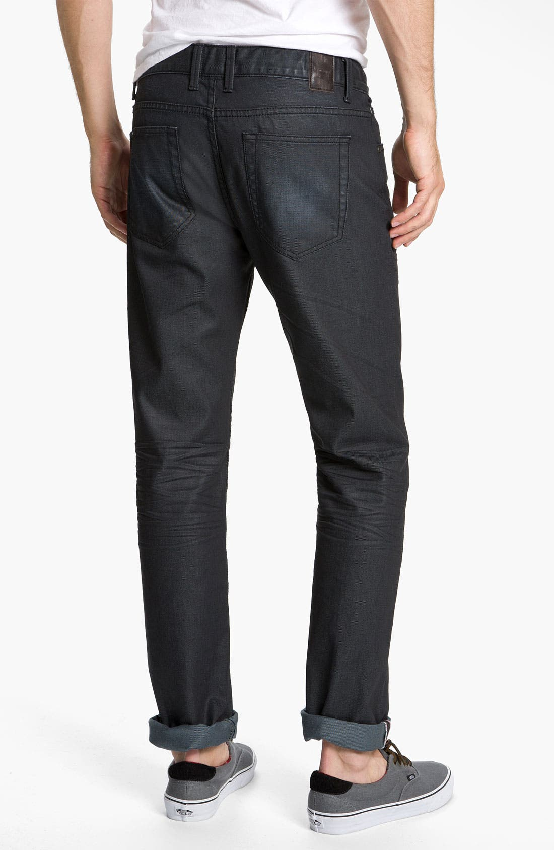 Alternate Image 1 Selected - Zanerobe 'Straight Mate' Coated Slim Straight Leg Jeans (Blue Black Wax)