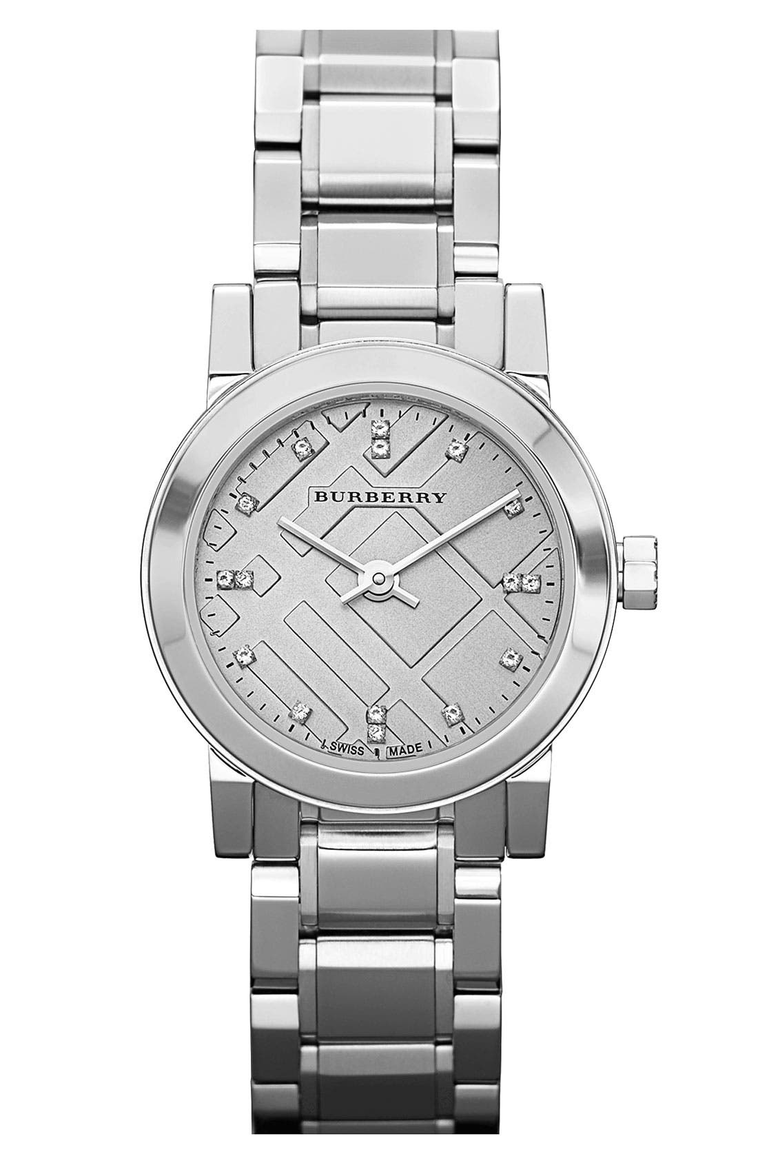 Main Image - Burberry Small Diamond Dial Bracelet Watch, 26mm