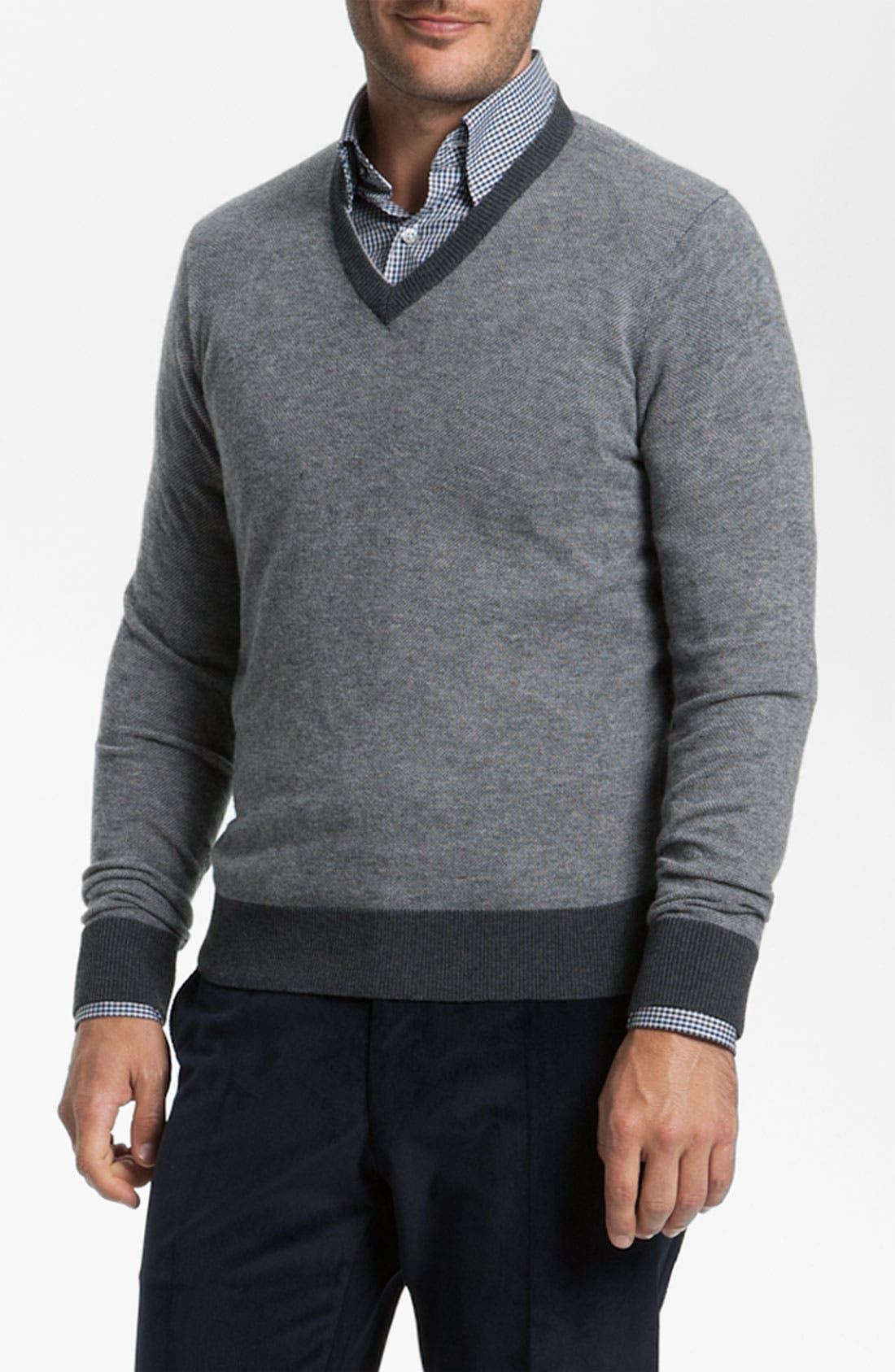 Main Image - Canali V-Neck Wool Sweater
