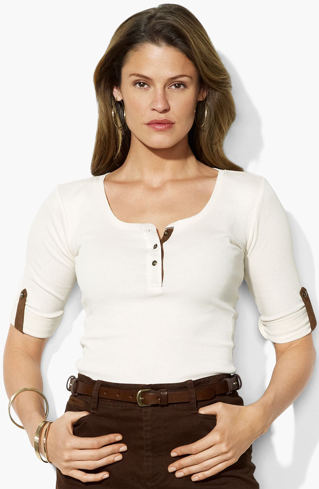 Alternate Image 1 Selected - Lauren Ralph Lauren Faux Suede Trim Henley Tee