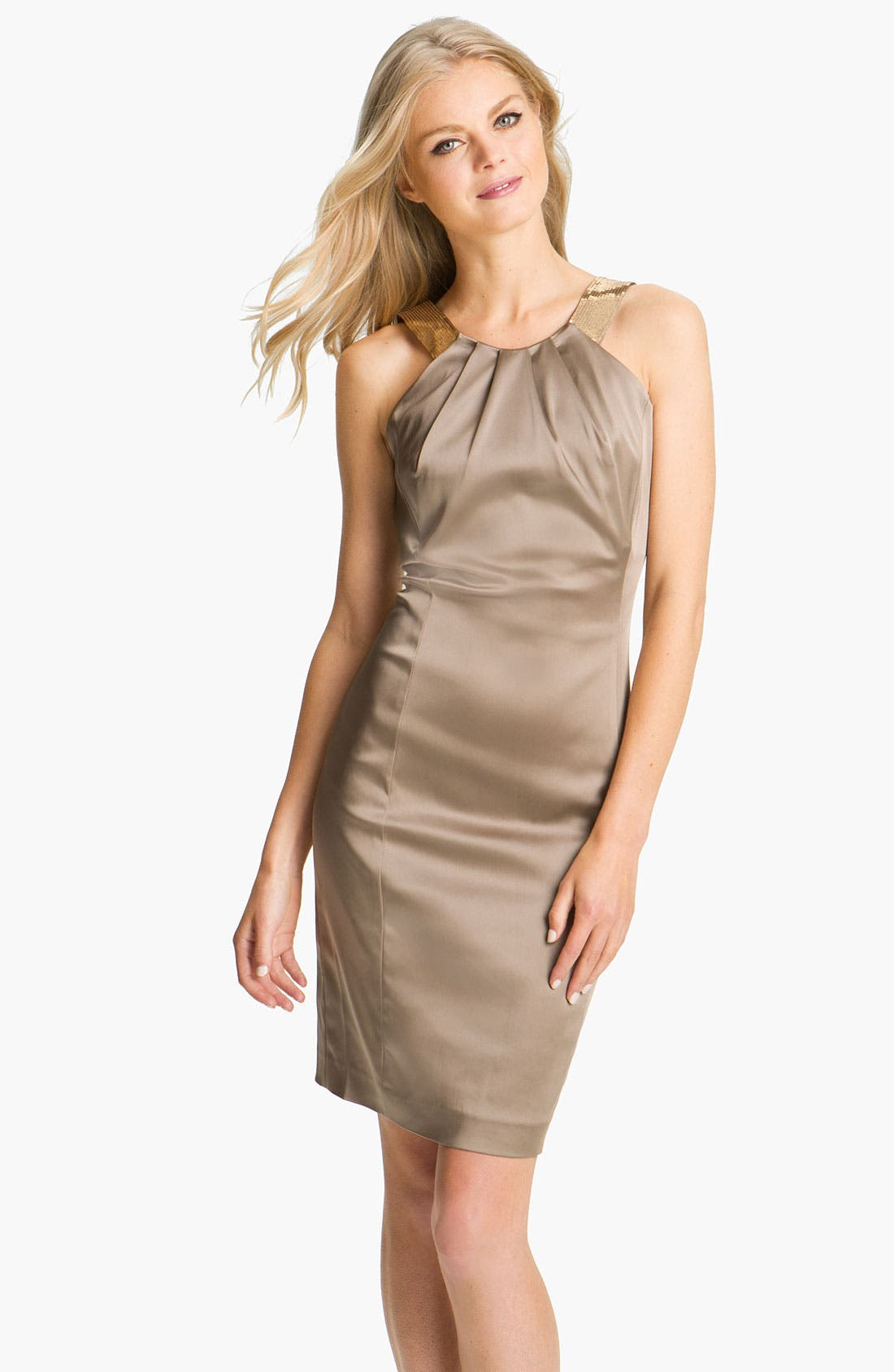 Alternate Image 1 Selected - Calvin Klein Sequin Strap Satin Sheath Dress