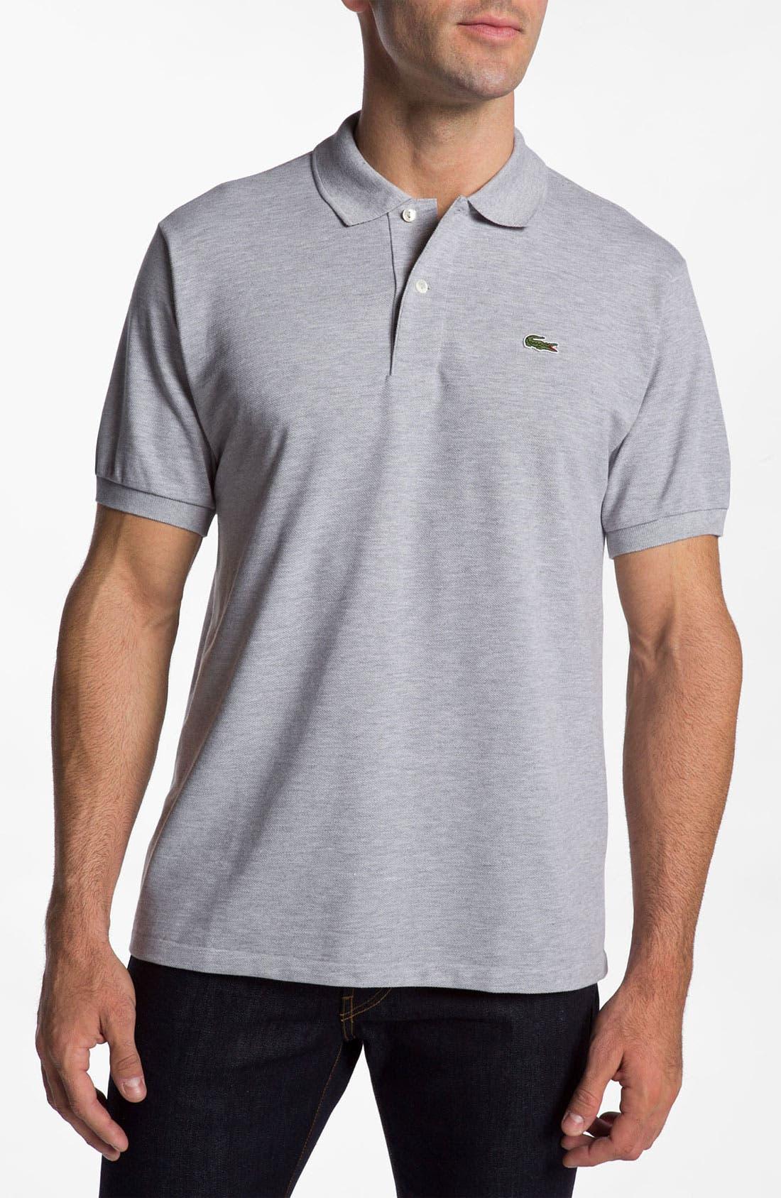 'Chine' Piqué Polo,                         Main,                         color, Argent Grey