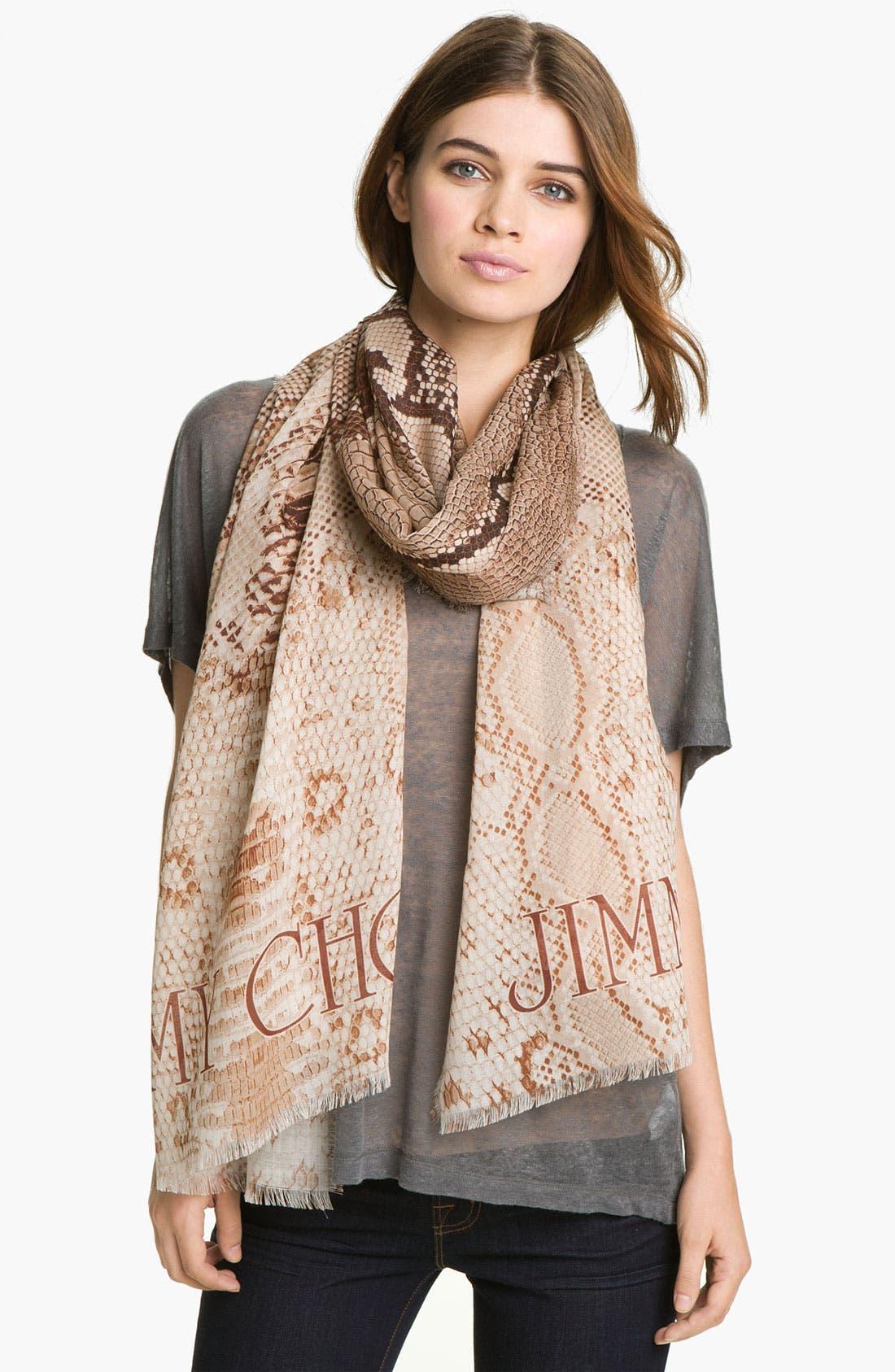 Alternate Image 1 Selected - Jimmy Choo Reptile Print Wool & Silk Scarf