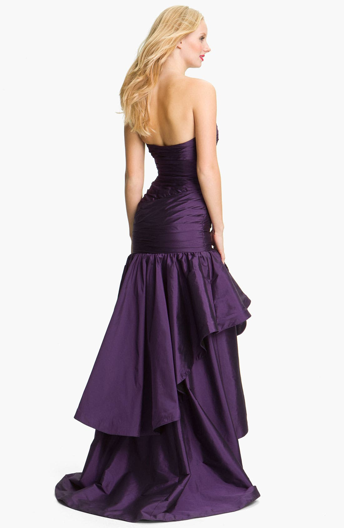 Alternate Image 2  - ML Monique Lhuillier Strapless High/Low Taffeta Mermaid Gown