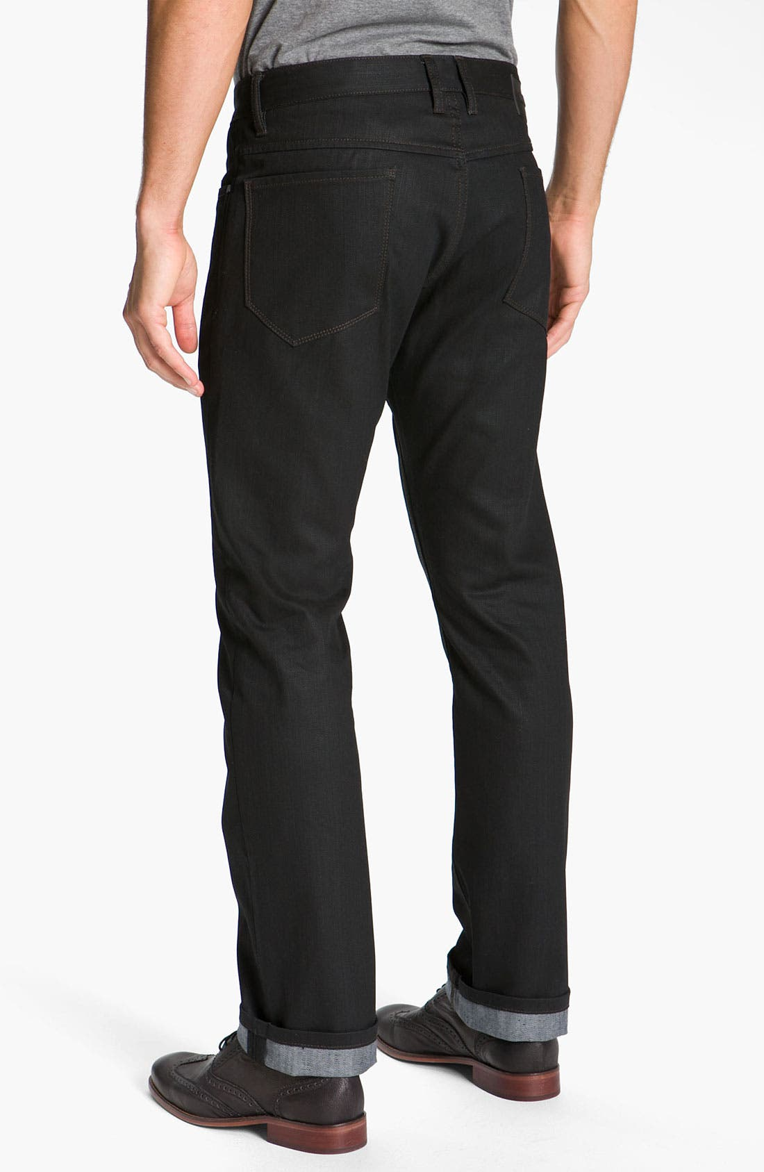 Main Image - Comune 'Rudy' Coated Slim Straight Leg Jeans (Black Indigo)