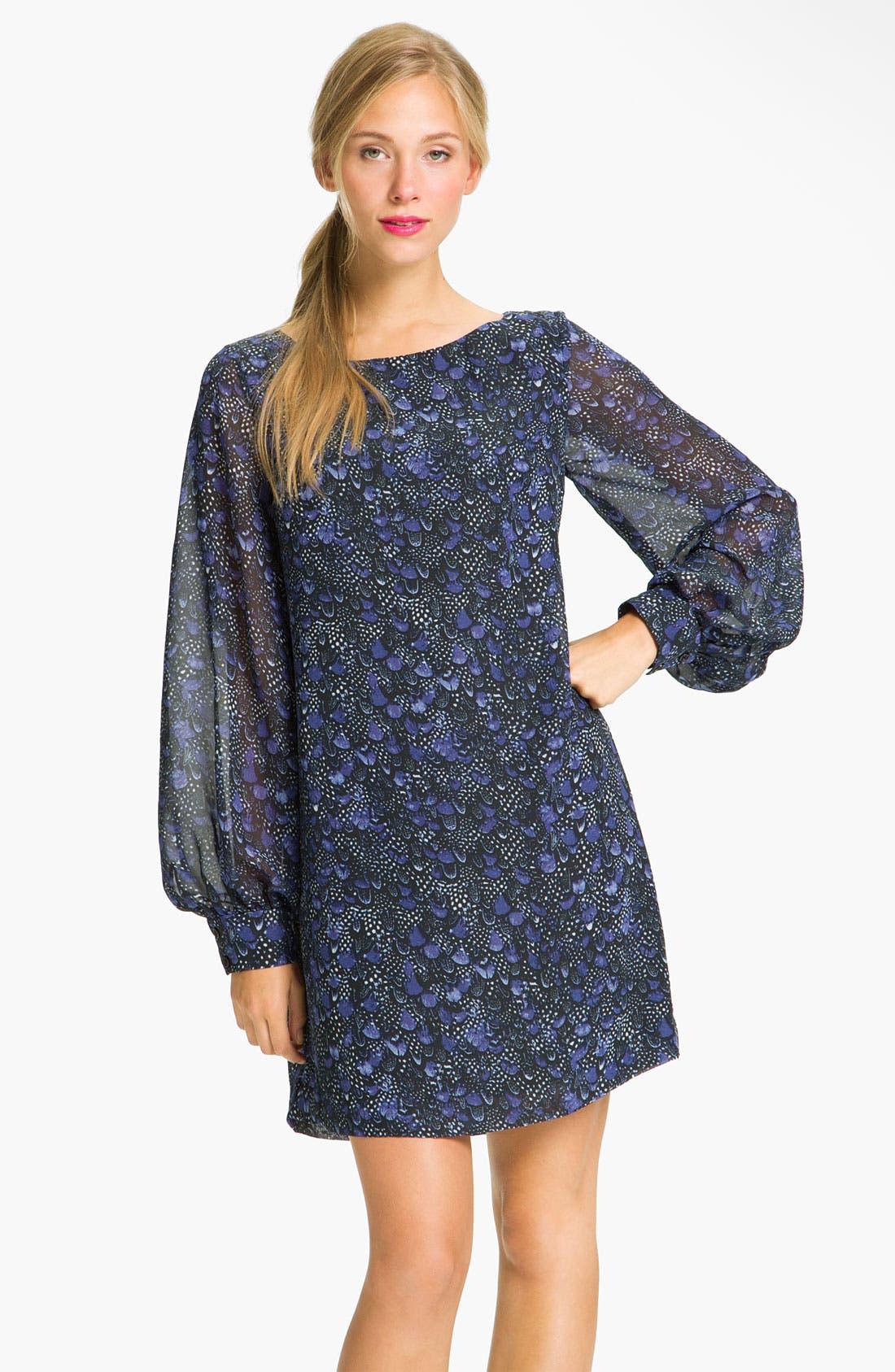 Alternate Image 1 Selected - Donna Morgan Sheer Blouson Sleeve Shift Dress