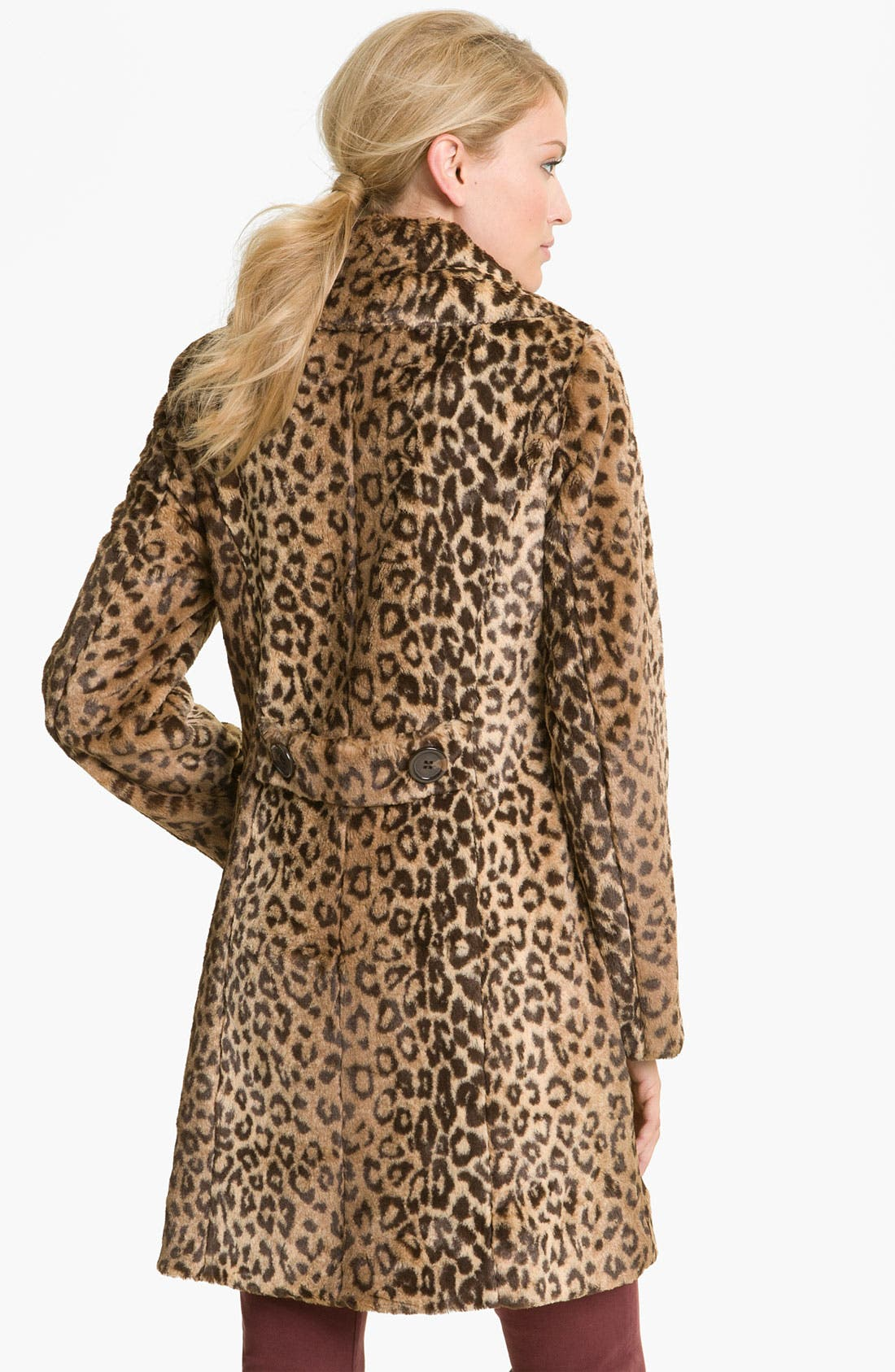Alternate Image 2  - Weatherproof® Faux Leopard Fur Walking Coat (Online Exclusive)