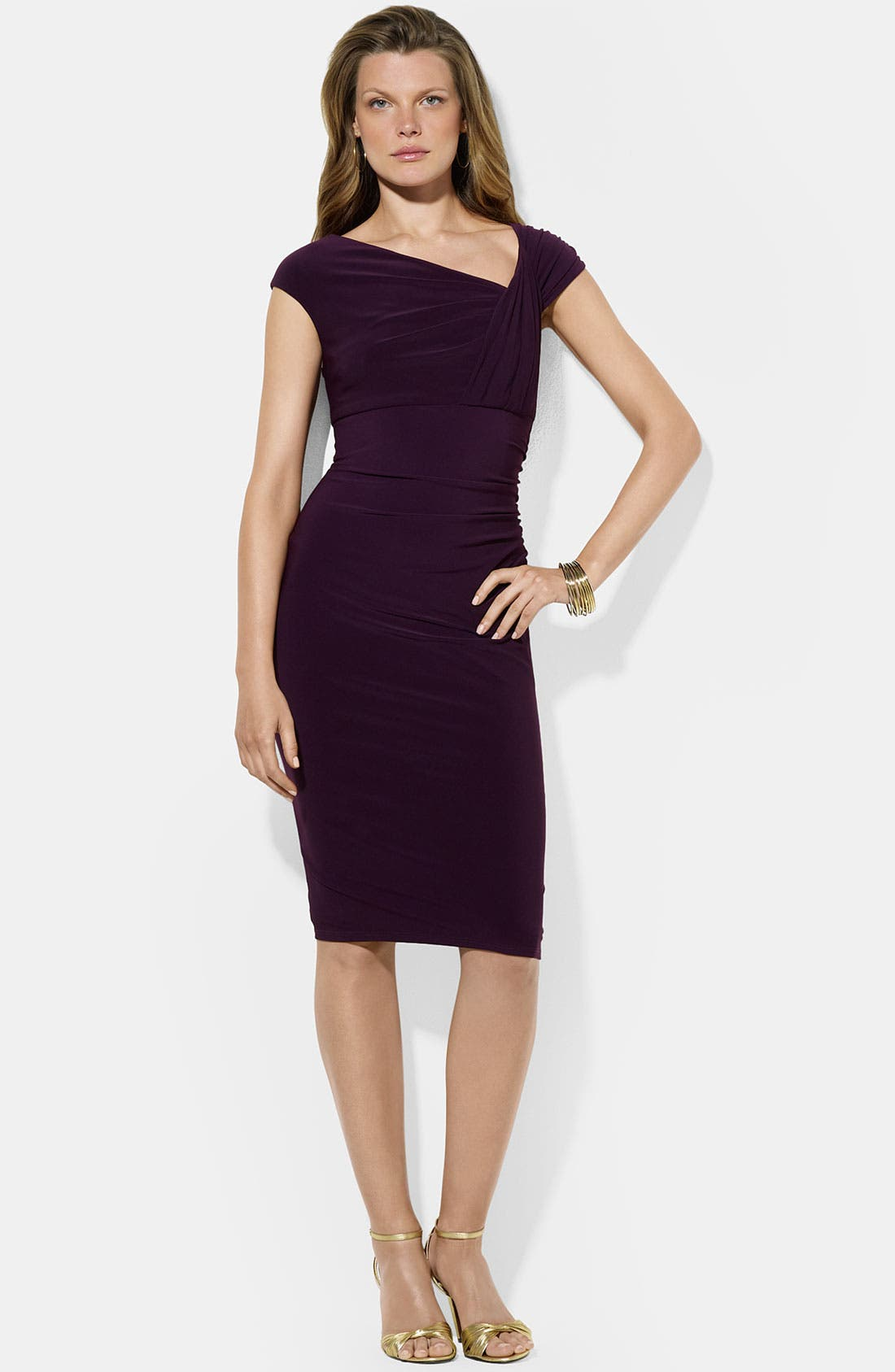 Main Image - Lauren Ralph Lauren Asymmetrical Neck Jersey Sheath Dress