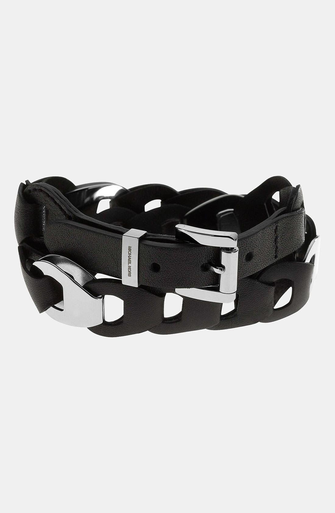 Alternate Image 1 Selected - Michael Kors 'Equestrian Luxury' Leather Wrap Bracelet