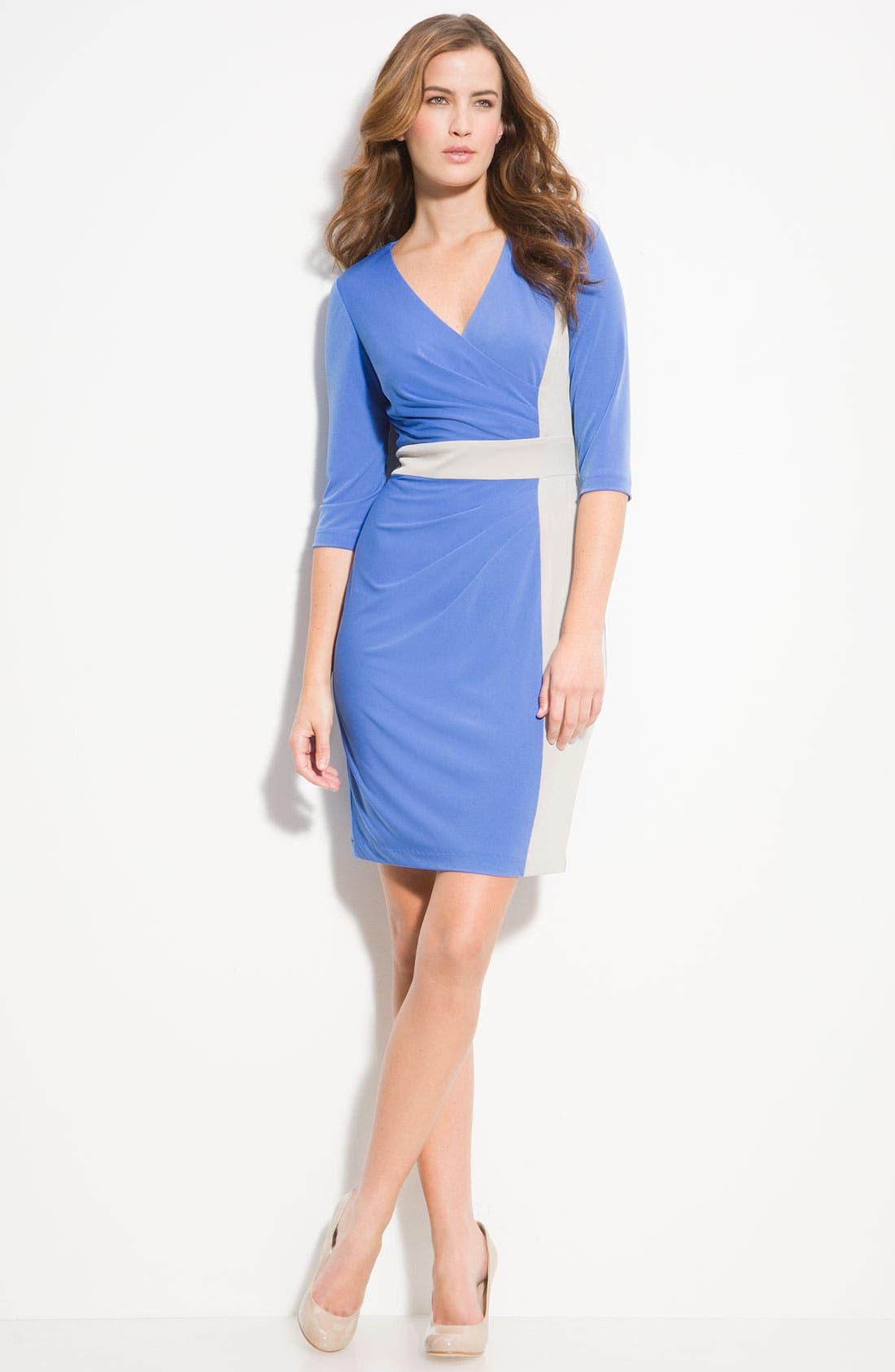 Alternate Image 2  - Donna Ricco Colorblock Surplice Jersey Dress (Petite)