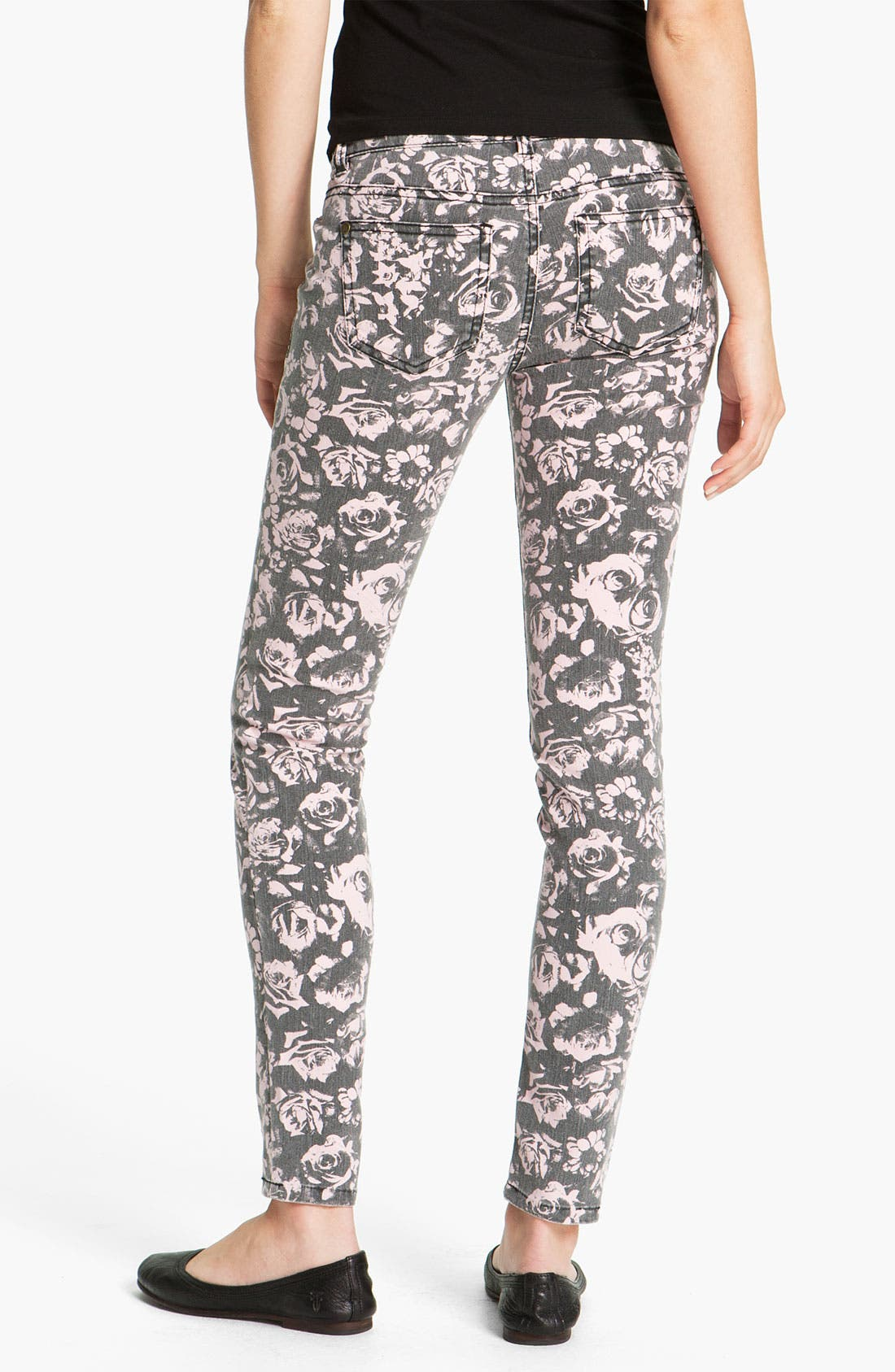 Main Image - Fire Rose Print Skinny Jeans (Juniors)