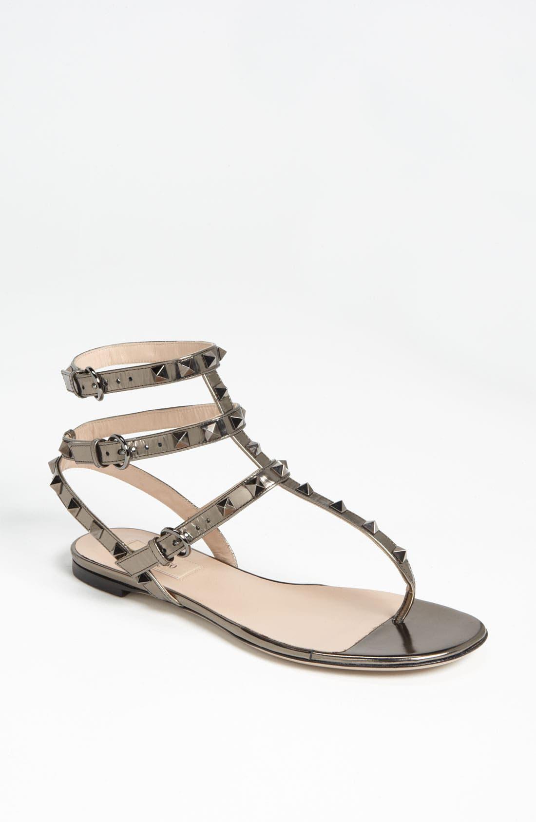 Main Image - VALENTINO GARAVANI 'Rockstud' Flat Sandal