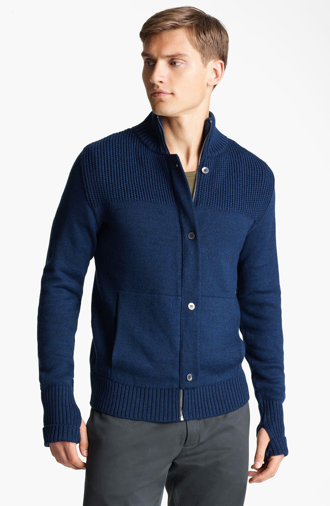 Mock Collar Sweater,                         Main,                         color, Midnight Blue