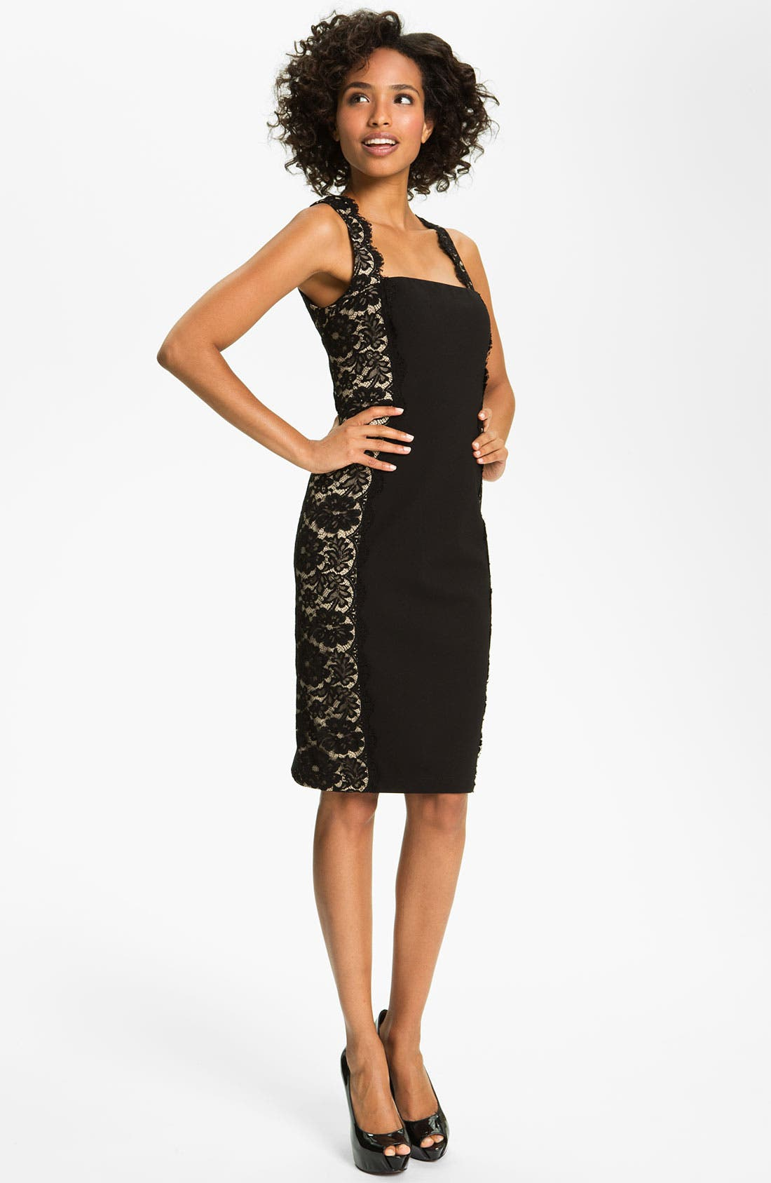 Main Image - Aidan Mattox Lace Panel Woven Sheath Dress