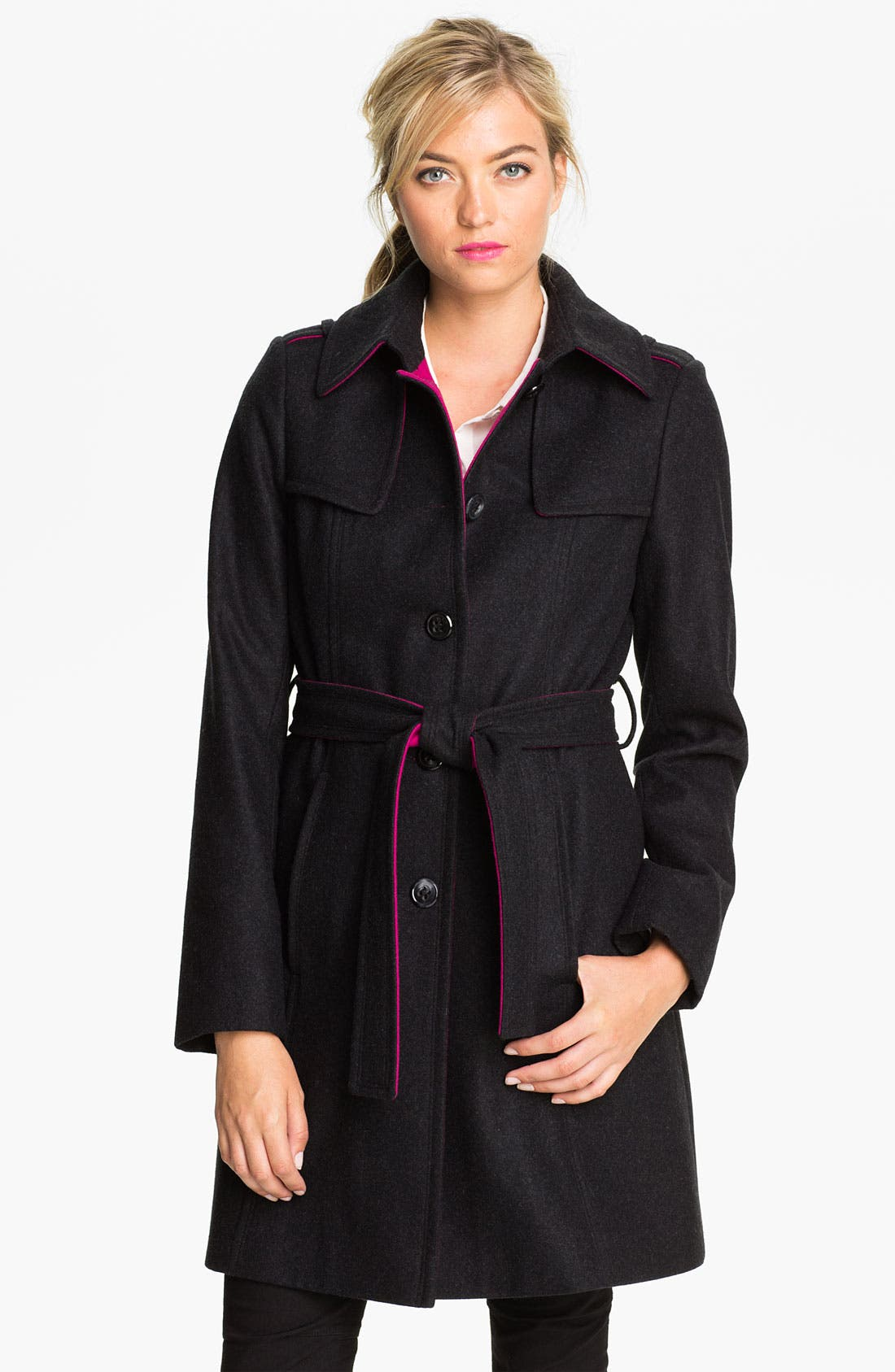 Main Image - DKNY Contrast Trim Wool Blend Coat
