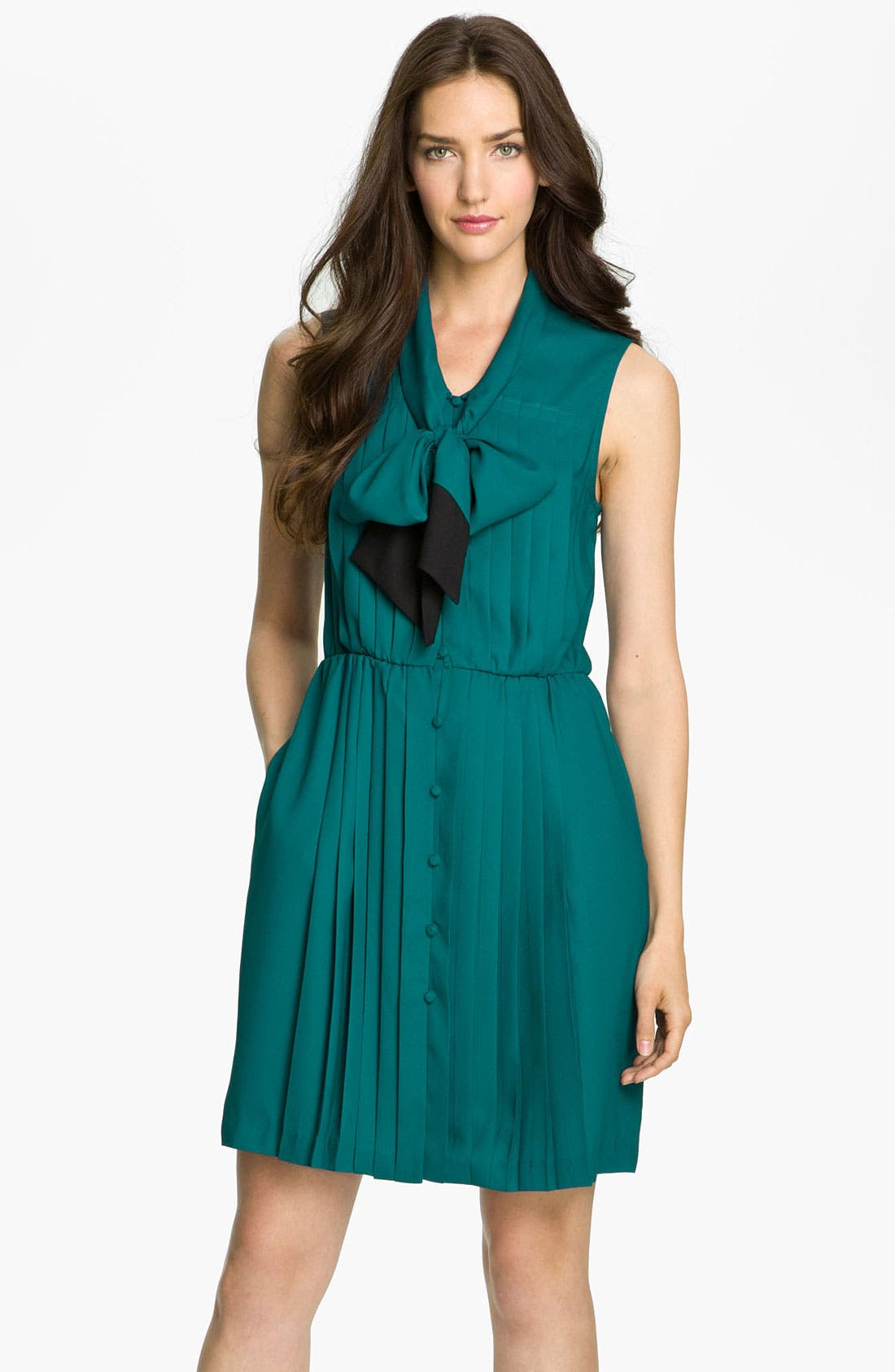 Main Image - Taylor Dresses Pleated Tie Neck Shirtdress