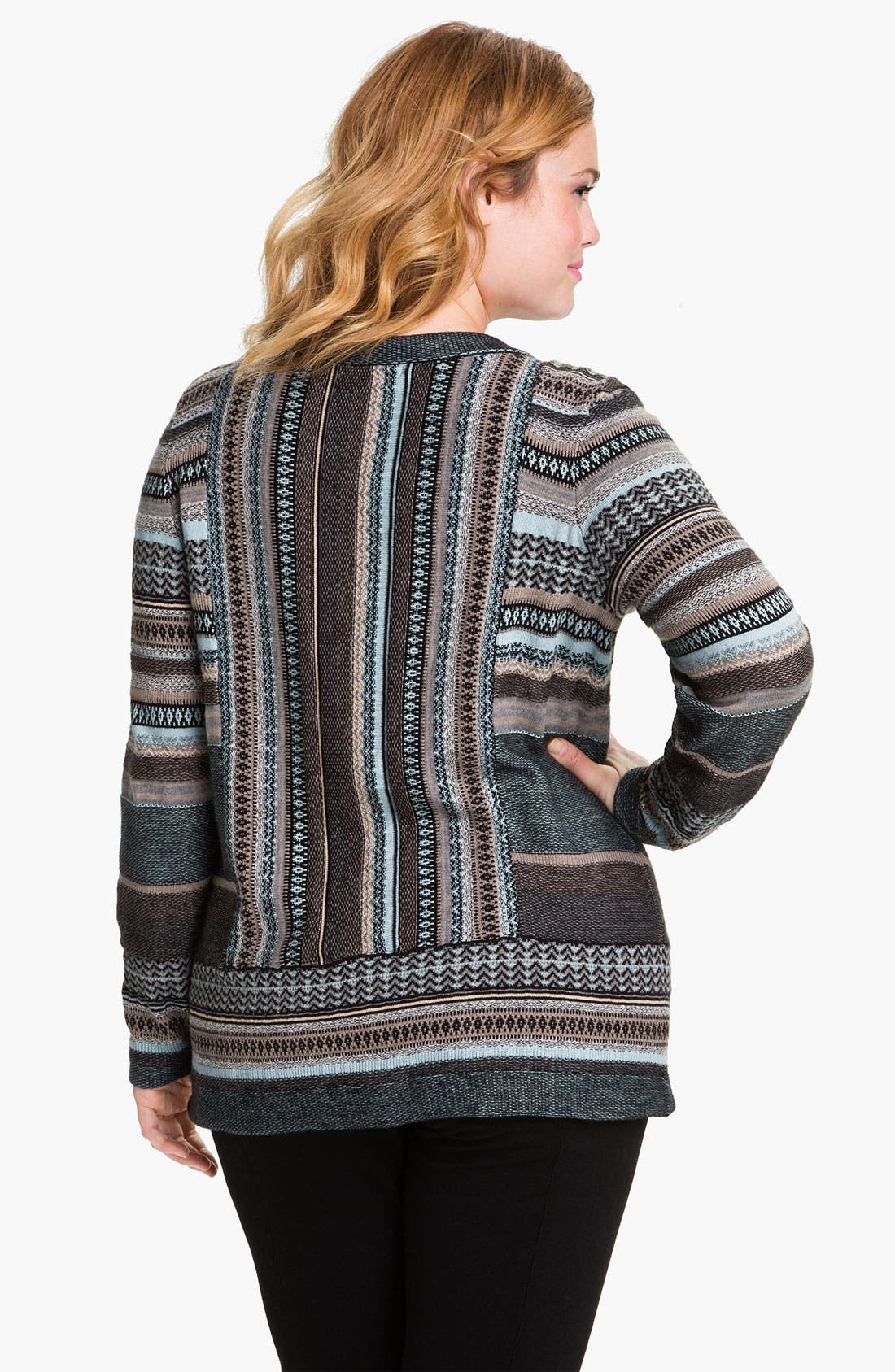 Alternate Image 2  - Nic + Zoe Stripe Knit Cardigan (Plus)