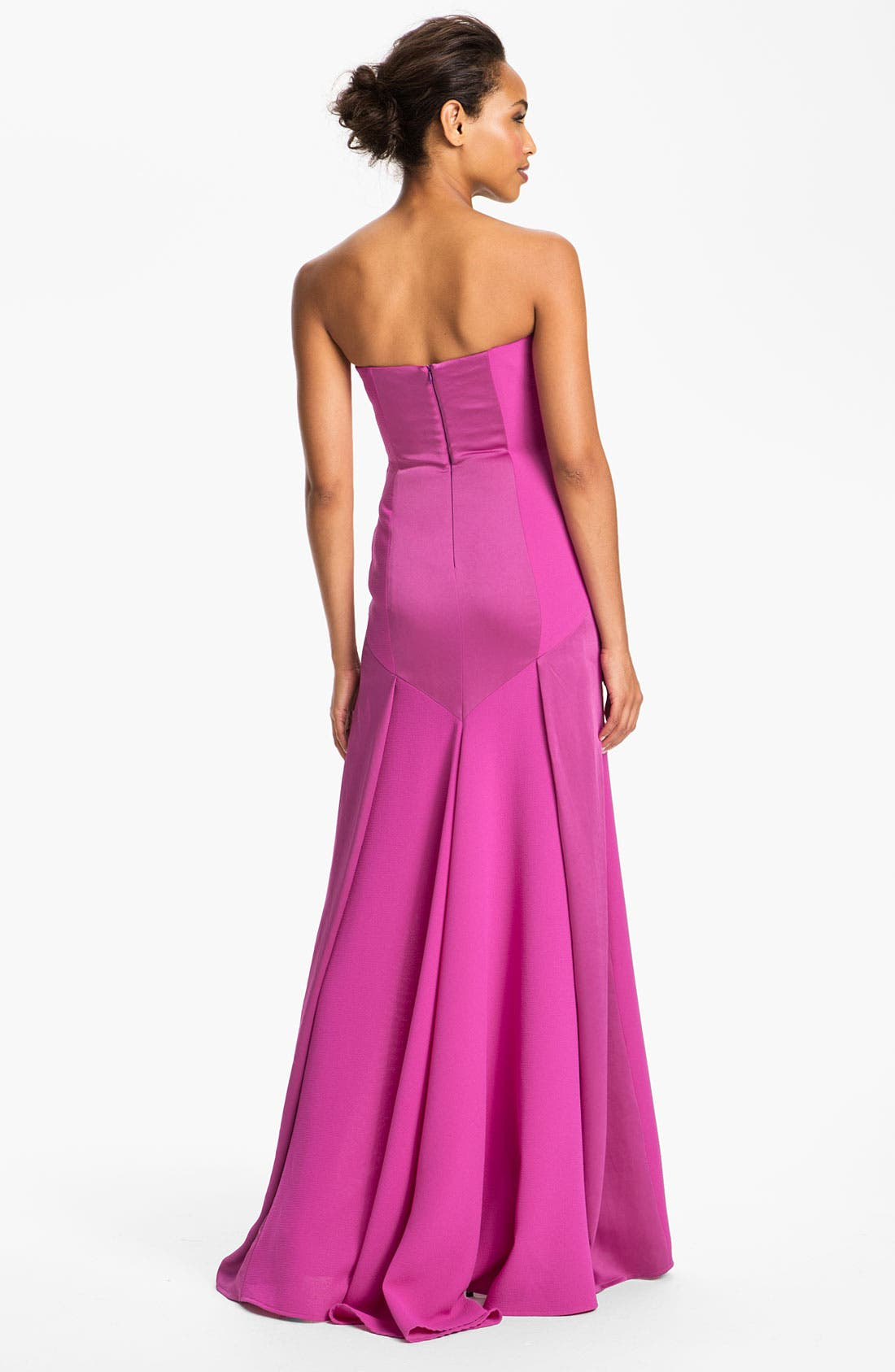Alternate Image 2  - BCBGMAXAZRIA Strapless Satin Inset Crepe Gown