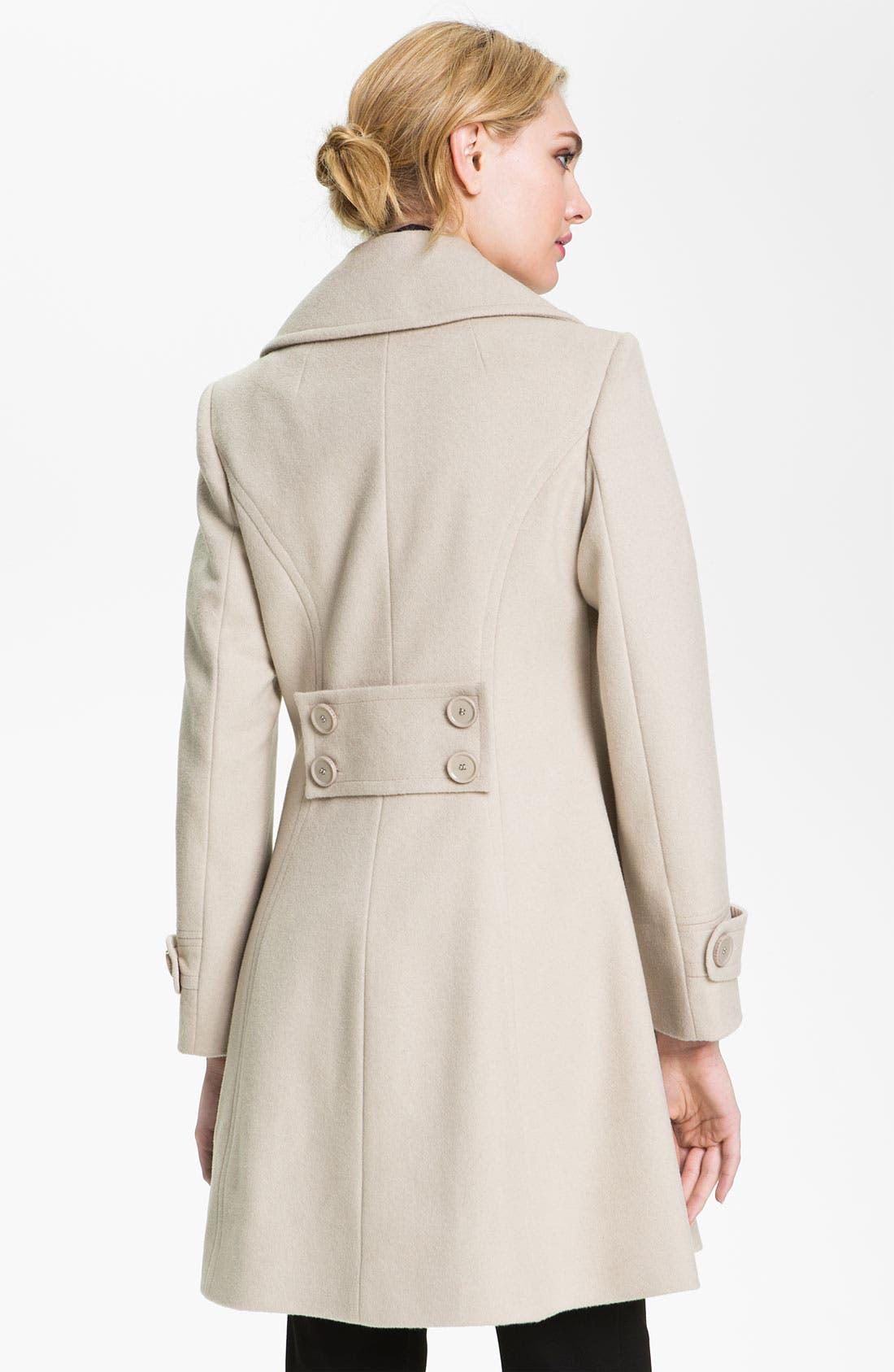 Alternate Image 2  - T Tahari 'Darla' Wool Blend Fit & Flare Coat (Online Only)