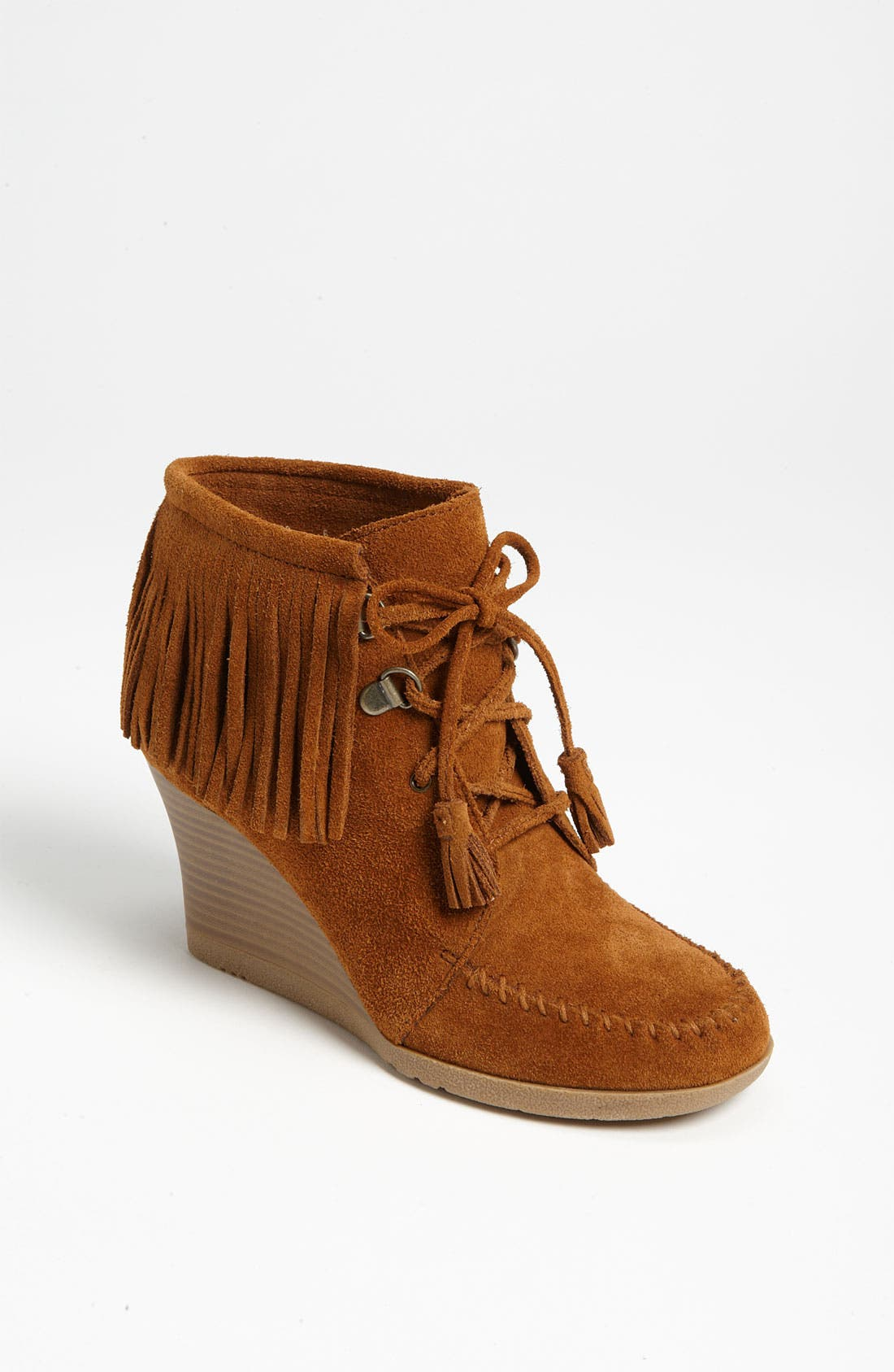Main Image - Minnetonka Lace-Up Fringe Ankle Boot