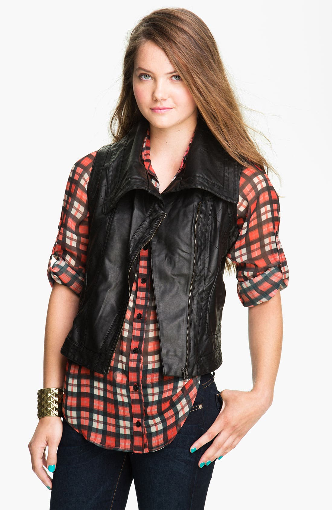 Main Image - Coffee Shop Oversize Collar Faux Leather Vest (Juniors)